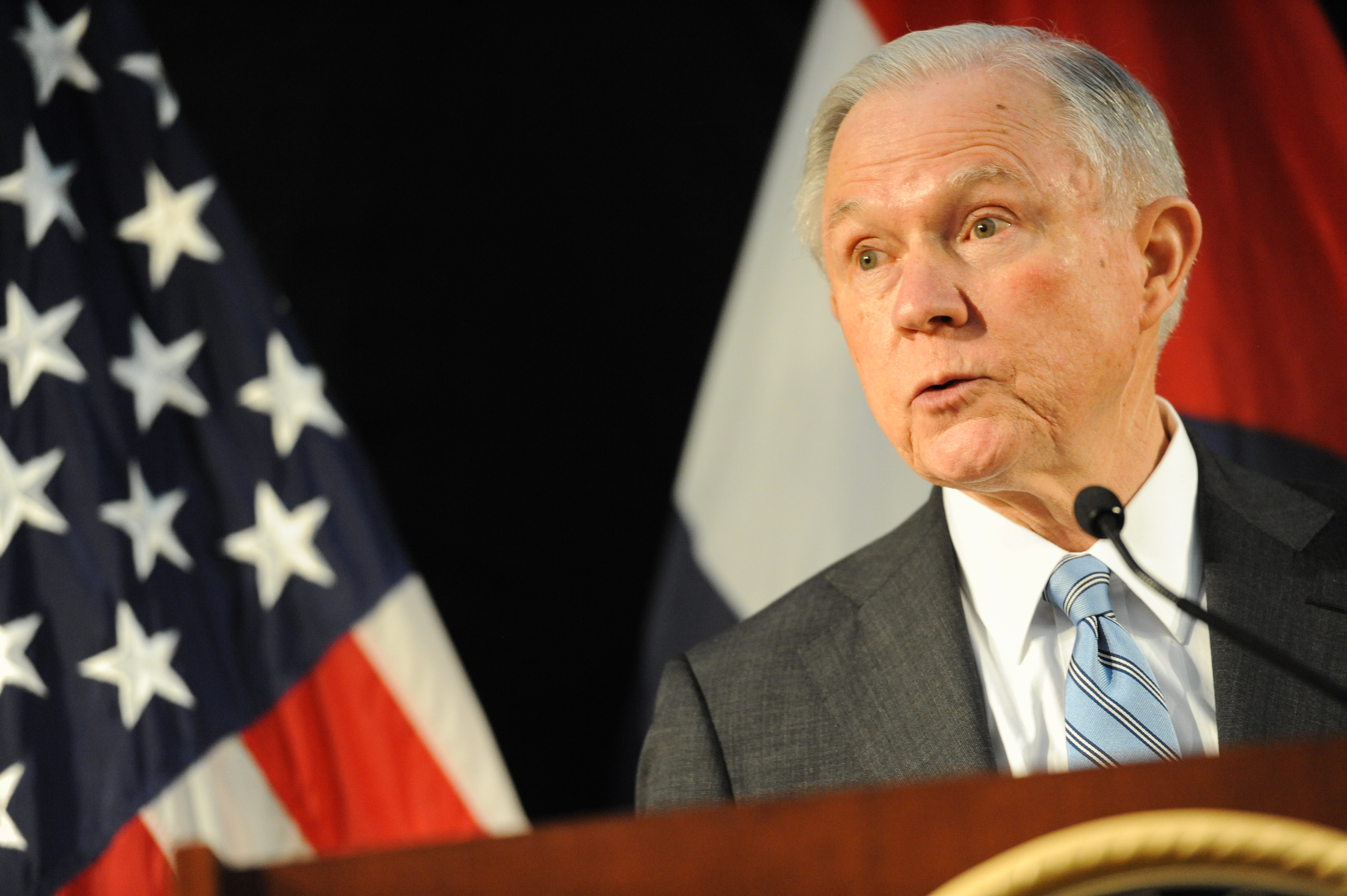 U.S. Attorney General Jeff Sessions addresses law enforcement members on March 31, 2017 in St. Louis, Missouri.