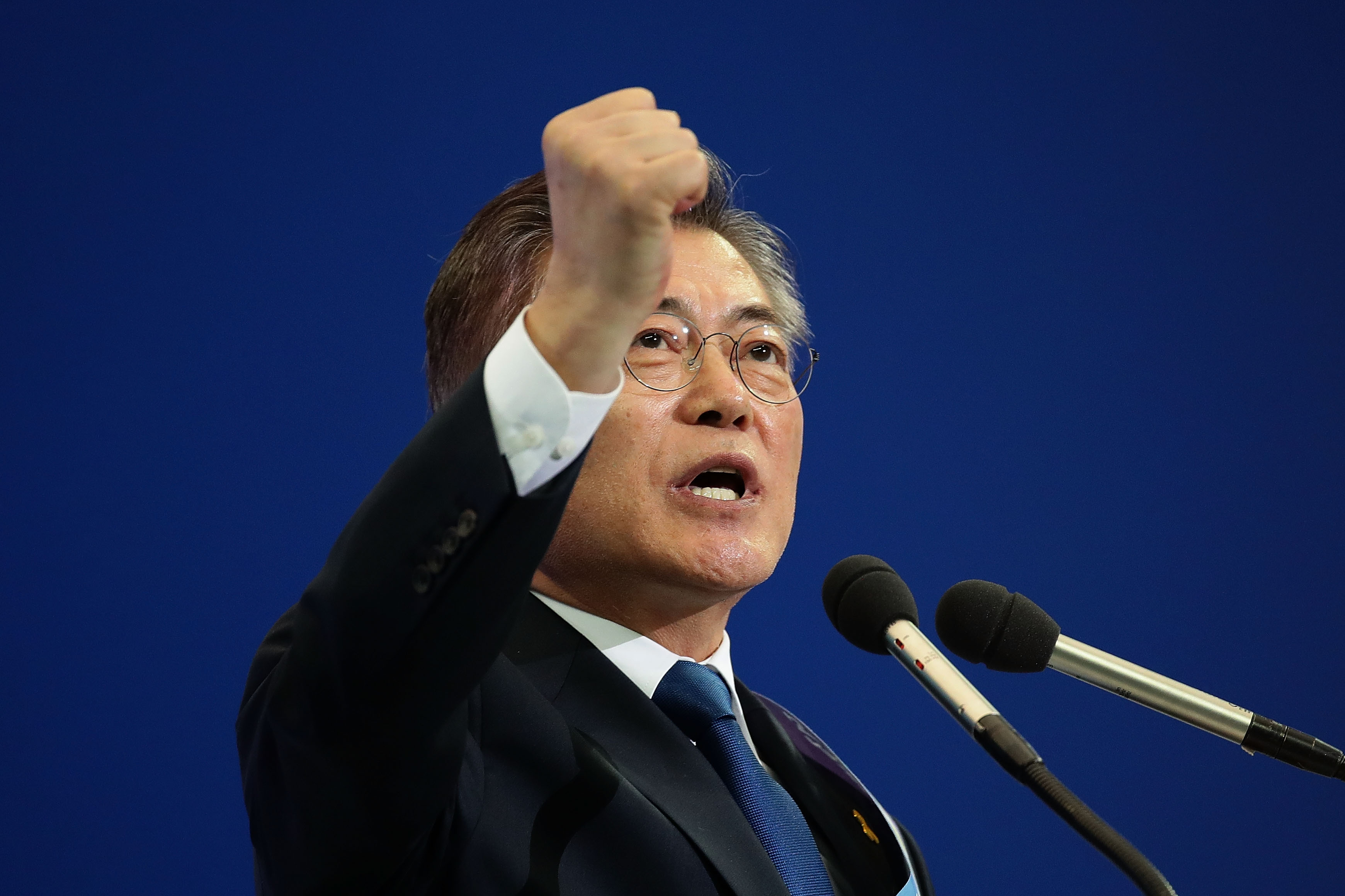 Moon Jae-In, presidential election candidate for the Democratic Party of Korea, on April 3, 2017, in Seoul