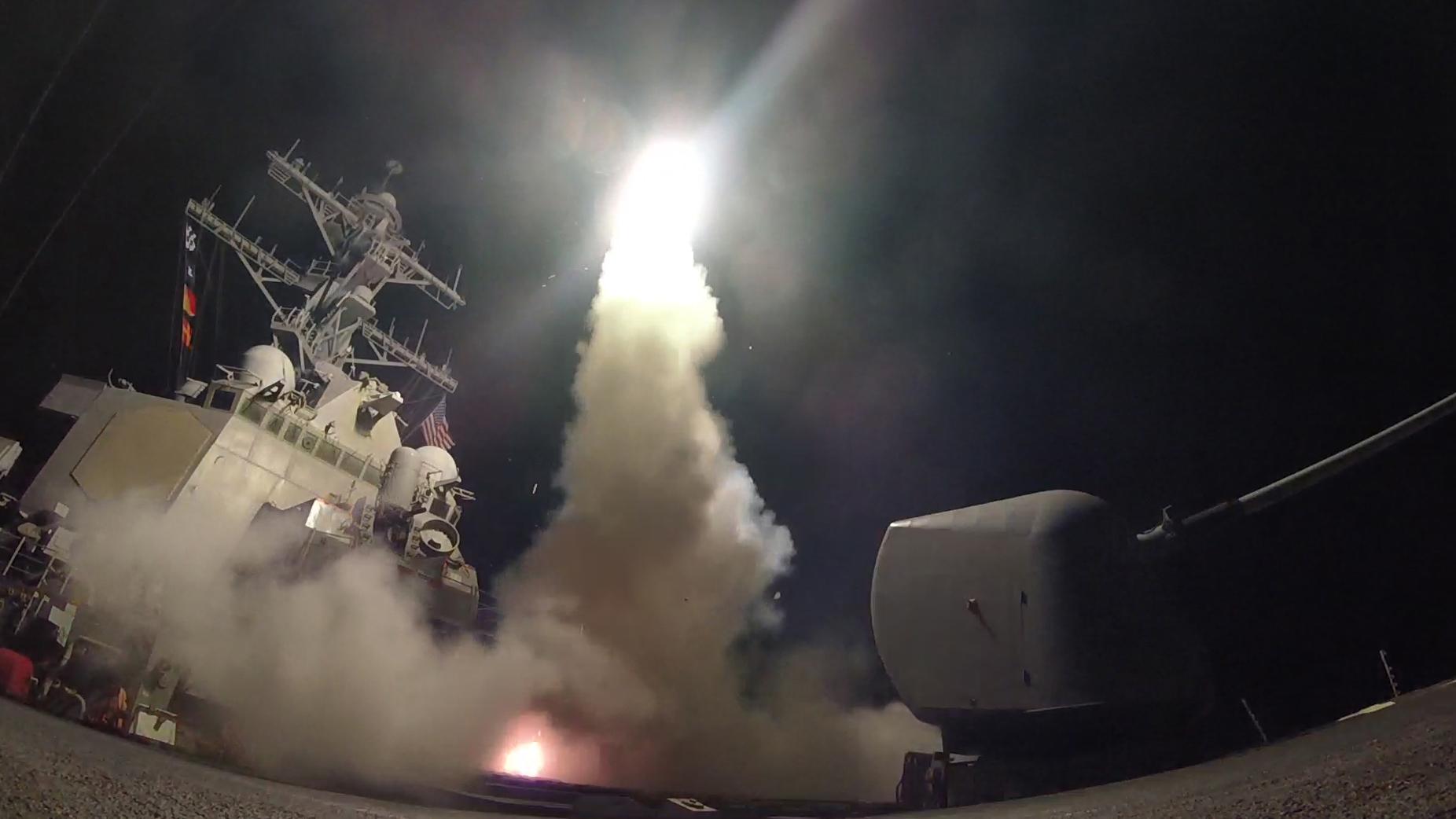 In this handout provided by the U.S. Navy, the guided-missile destroyer USS Porter fires a Tomahawk land attack missile on April 7, 2017 in the Mediterranean Sea. The USS Porter was one of two destroyers that fired a total of 59 cruise missiles at a Syrian military airfield in retaliation for a chemical attack that killed scores of civilians this week. The attack was the first direct U.S. assault on Syria and the government of President Bashar al-Assad in the six-year war there.