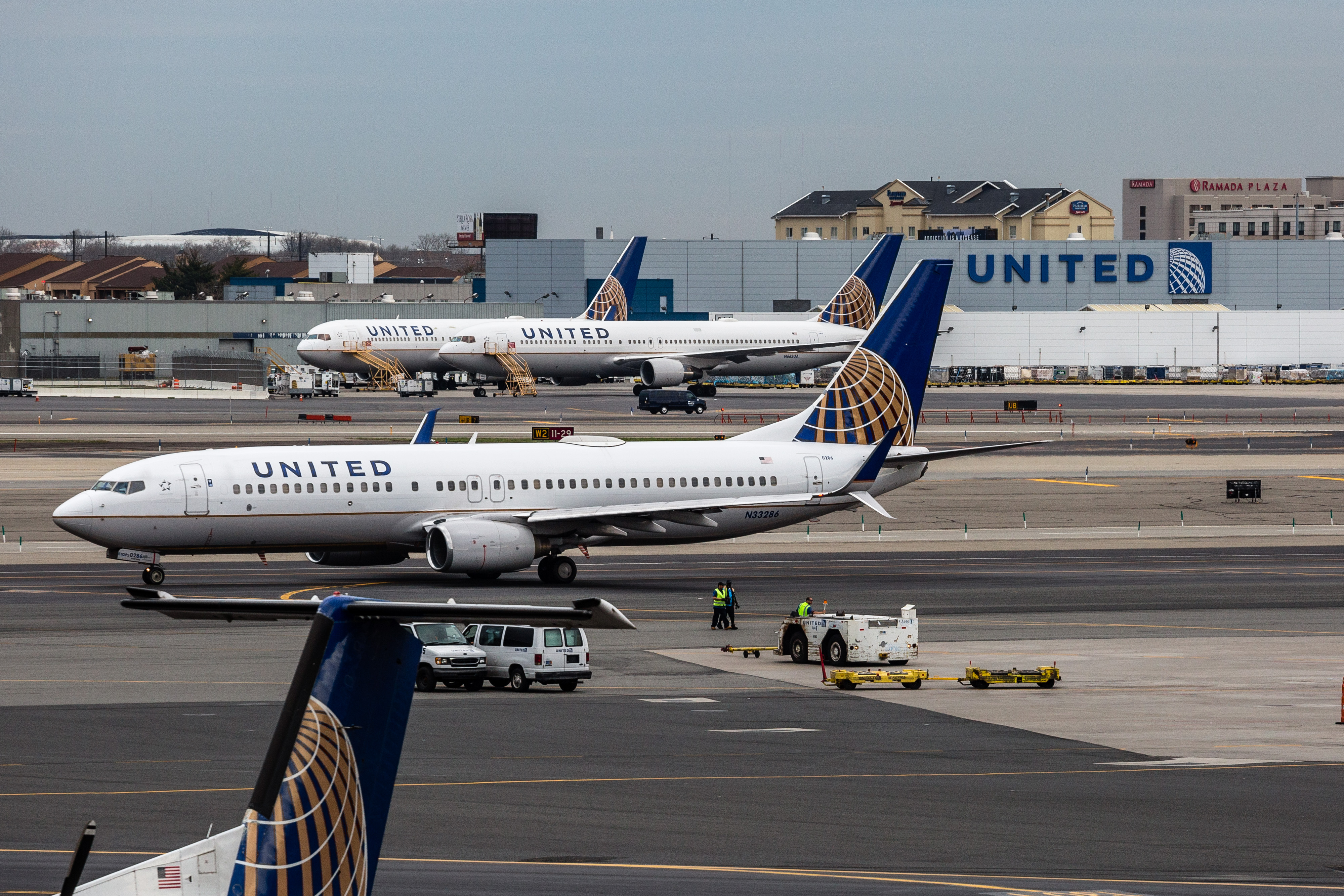 United airplanes outside the company's hangar at Newark Liberty International Airport (EWR) in Newark, New Jersey, on April  12, 2017.