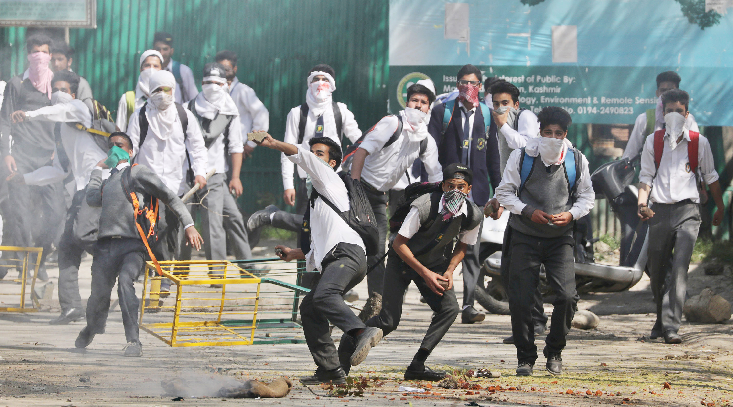Kashmiri students clash with security forces near a college at Lal Chowk area on April 17, 2017, in Srinagar, India