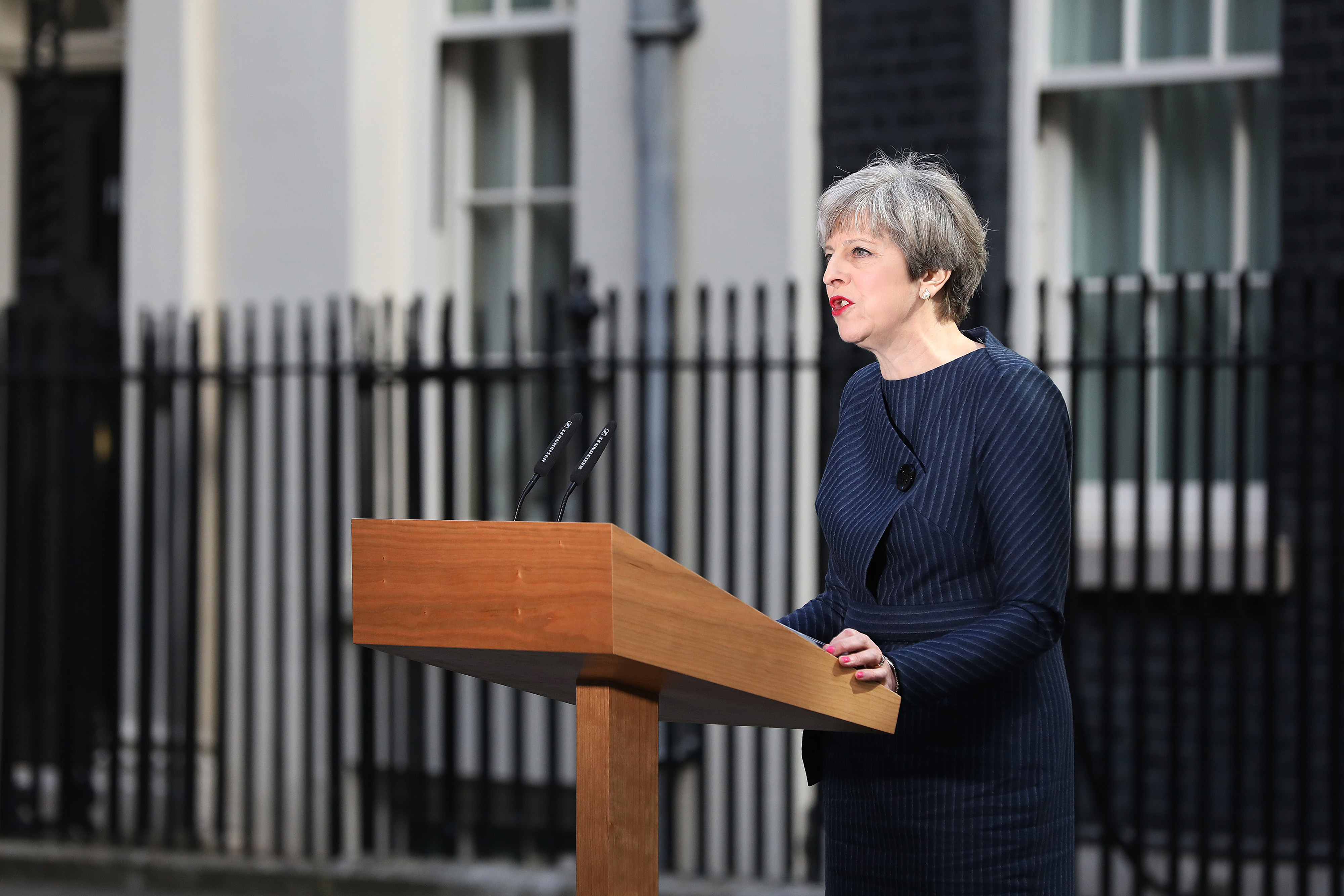 Theresa May, U.K. prime minister, announces a general election outside 10 Downing Street in London, U.K., on Tuesday, April 18, 2017.
