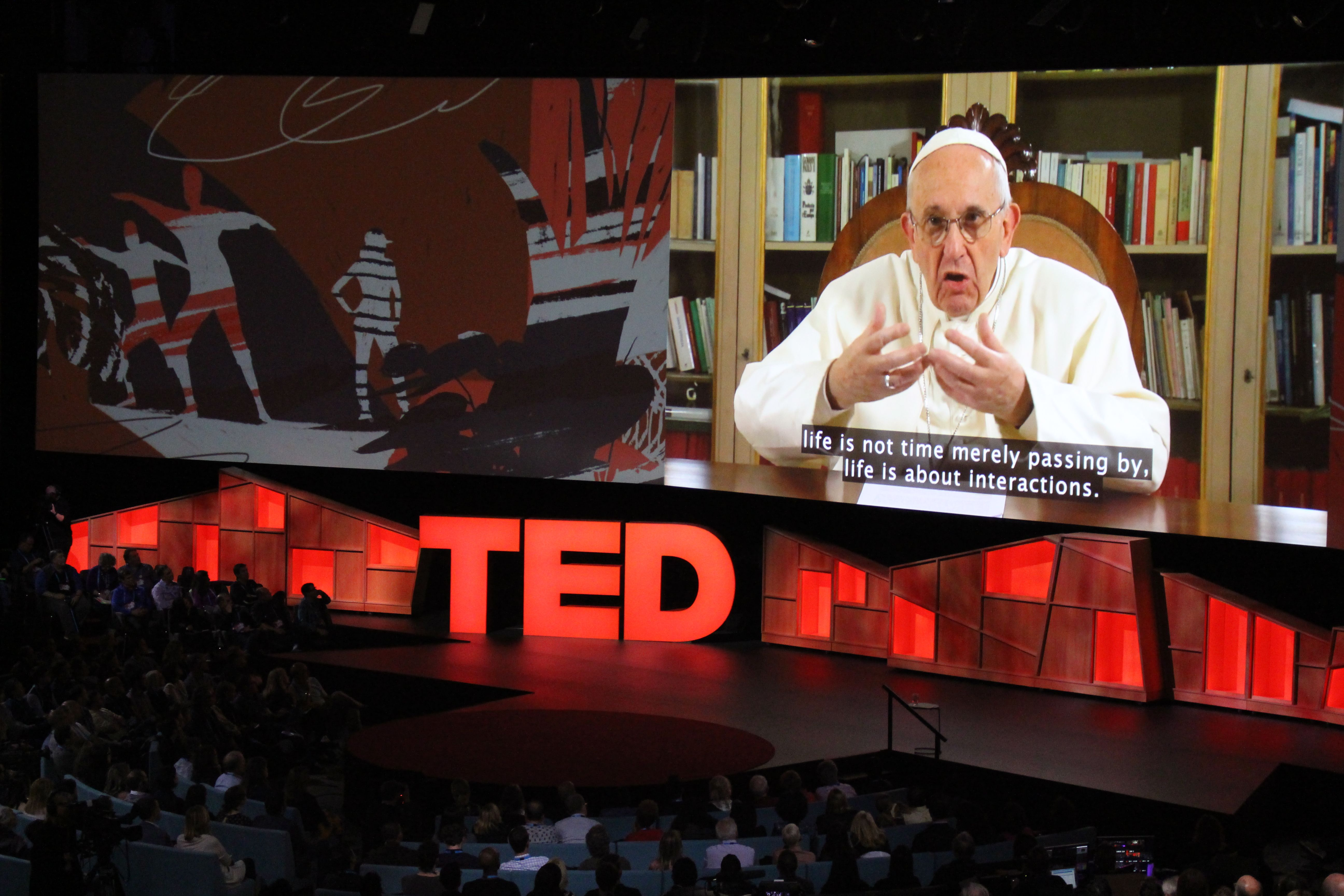 Pope Francis speaks during the TED Conference, urging people to connect with and understand others, in Vancouver, Canada, April 25, 2017.