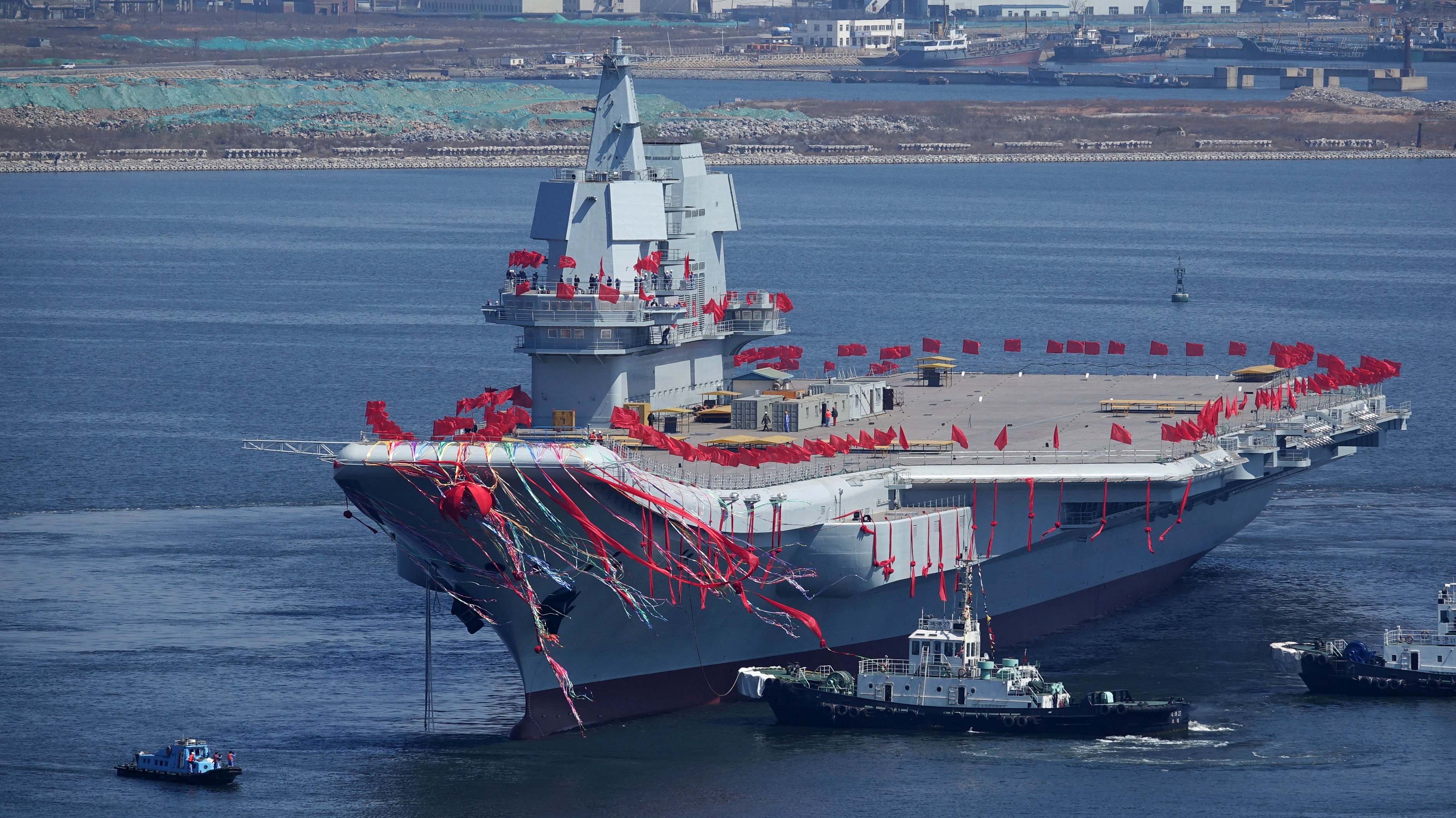 China's second aircraft carrier, is seen during a launch ceremony at Dalian shipyard in Dalian, northeast China's Liaoning Province, April 26, 2017.