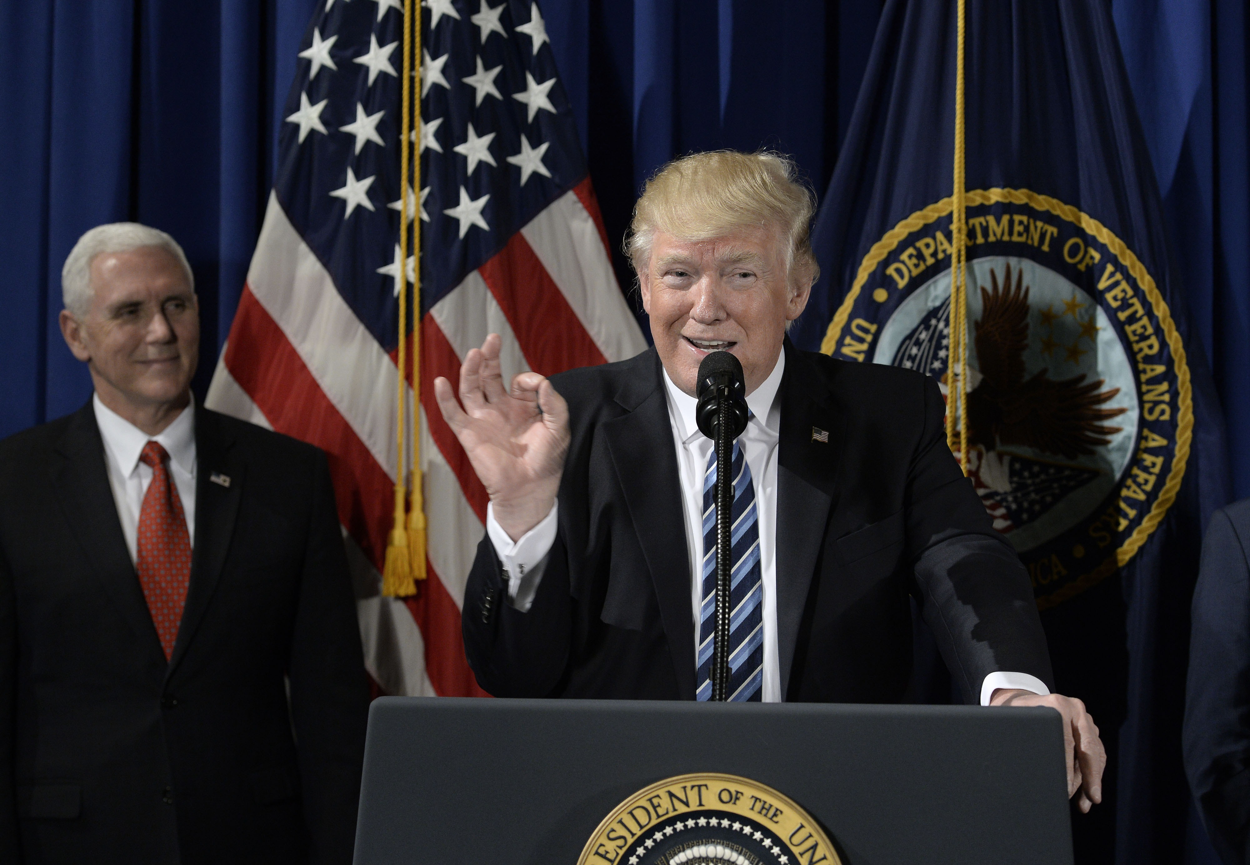 President Trump speaks at the Department of Veterans Affairs before signing an Executive Order on April 27, 2017 in Washington, DC.