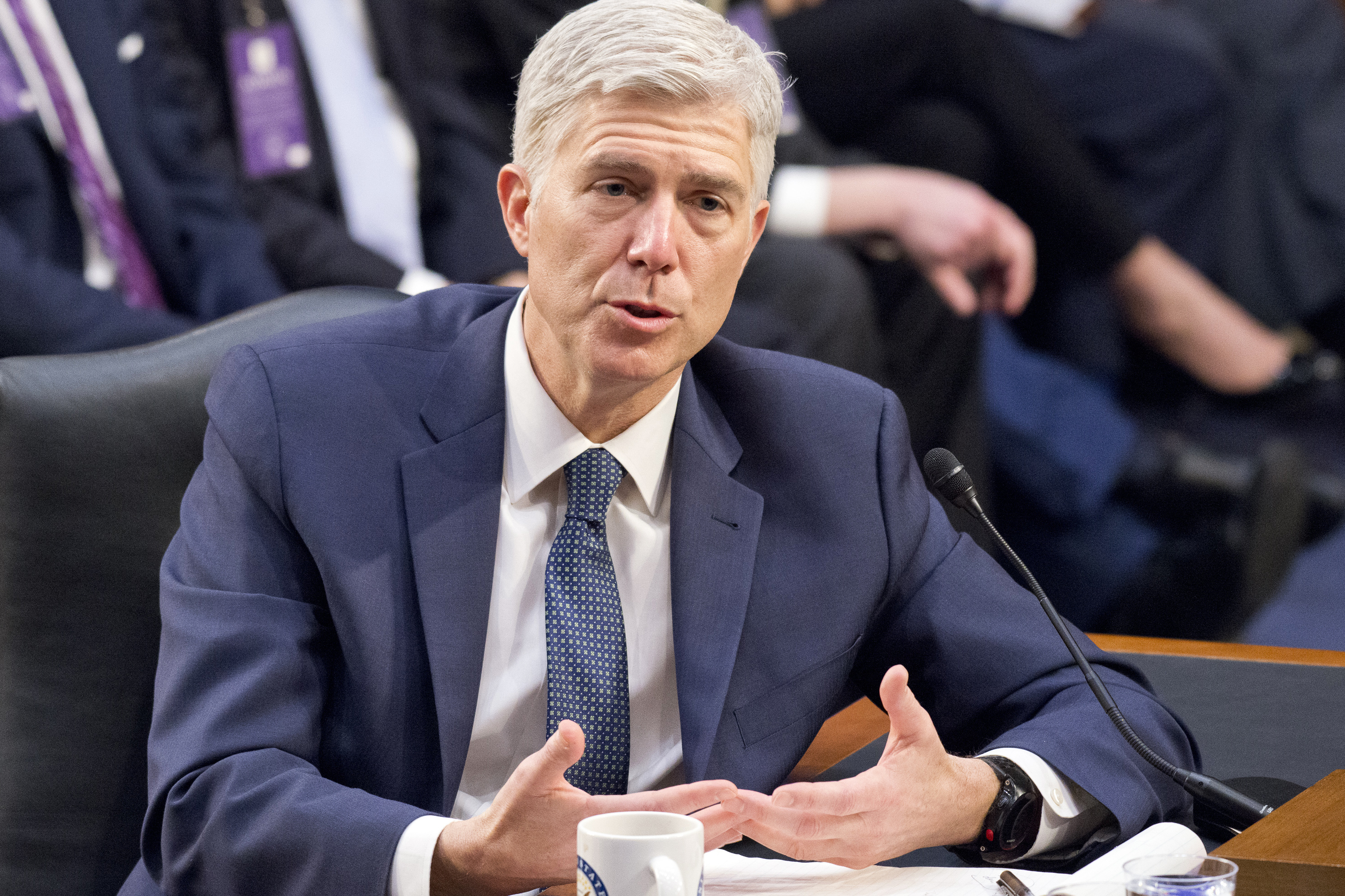 Neil Gorsuch testifies before the United States Senate Judiciary Committee on his nomination as Associate Justice of the US Supreme Court to replace the late Justice Antonin Scalia on Capitol Hill in Washington, D.C., on March 22, 2017.