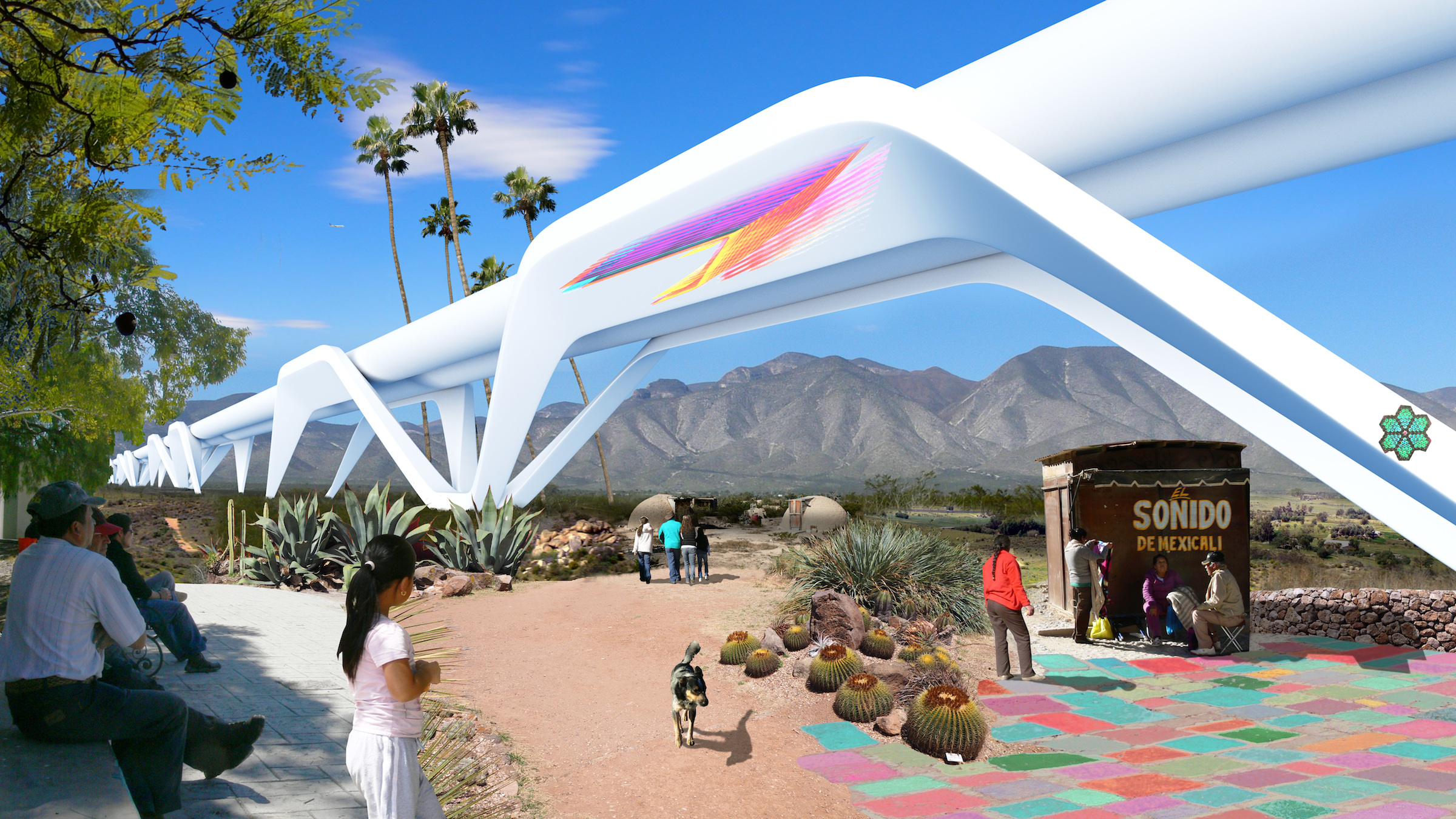 An image of the hyperloop included in the Otra Nation proposal. Photo Courtesy of the Otra Nation