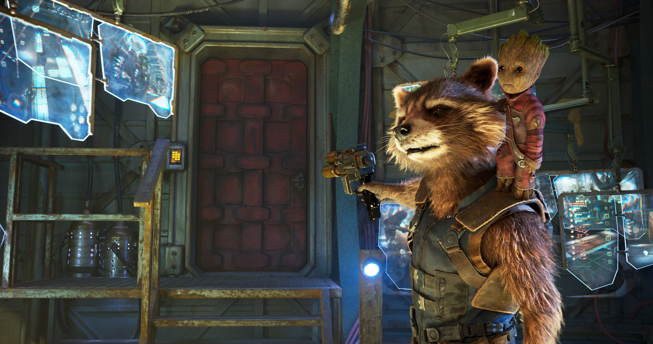Rocket, voiced by Bradley Cooper, and Groot, voiced by Vin Diesel in <i>Guardians Of The Galaxy Vol. 2</i>.