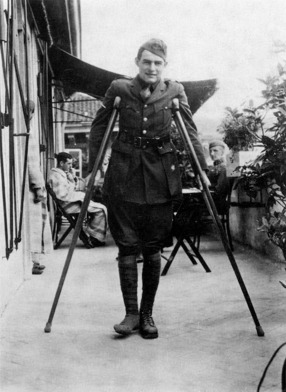 Ernest Hemingway (1899-1961) during his convalescence in Milan, Italy (American Red Cross Hospital) in 1918