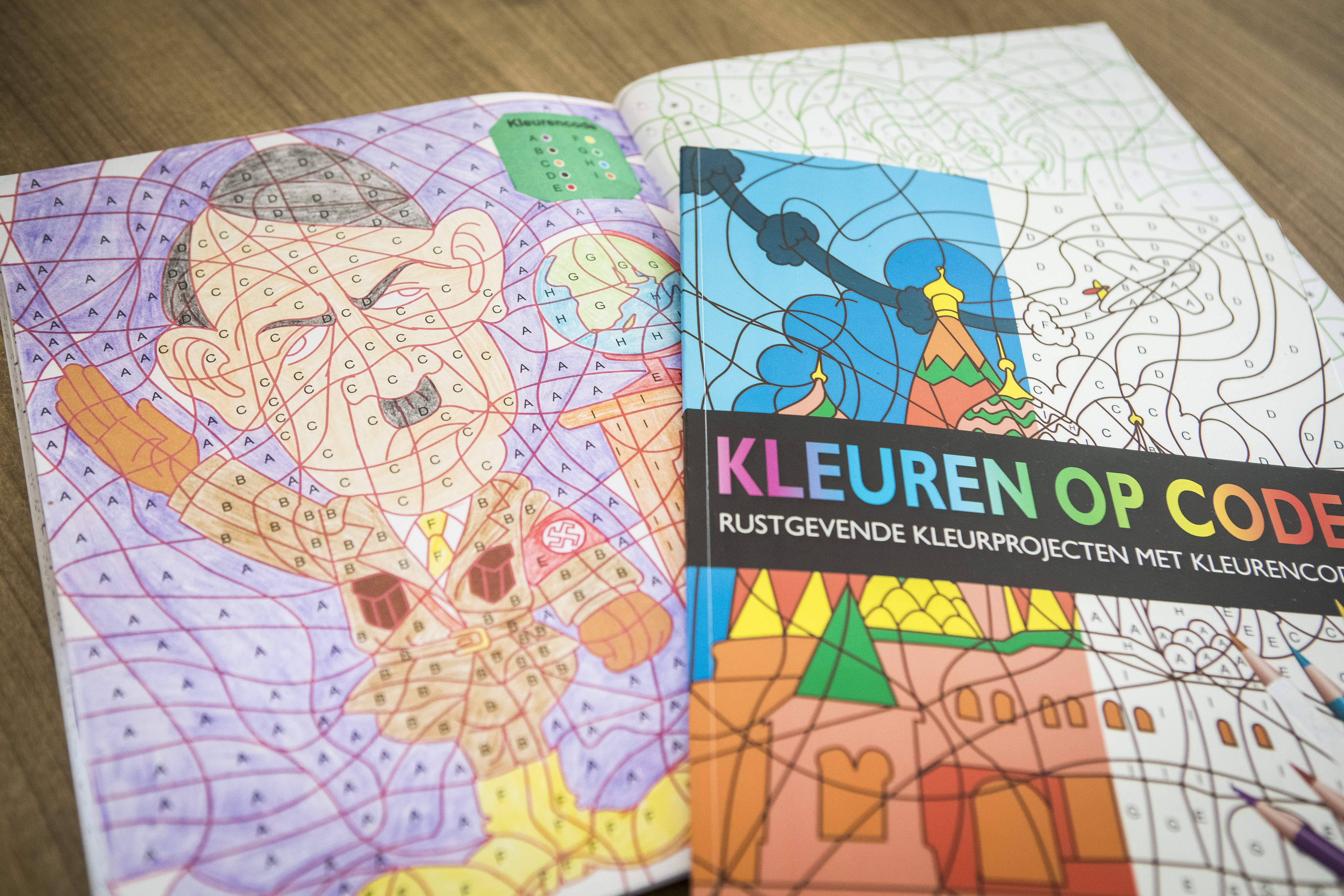 A coloring book with an image of Adolf Hitler bought at the Dutch store Kruidvat in Pijnacker, the Netherlands, on April 5, 2017.