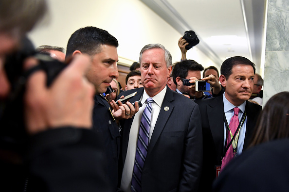 Mark Meadows (R-NC) who is chair of the Freedom Caucus talks with the press after meeting for hours about the Affordable Care Act March 23, 2017 in Washington, DC.