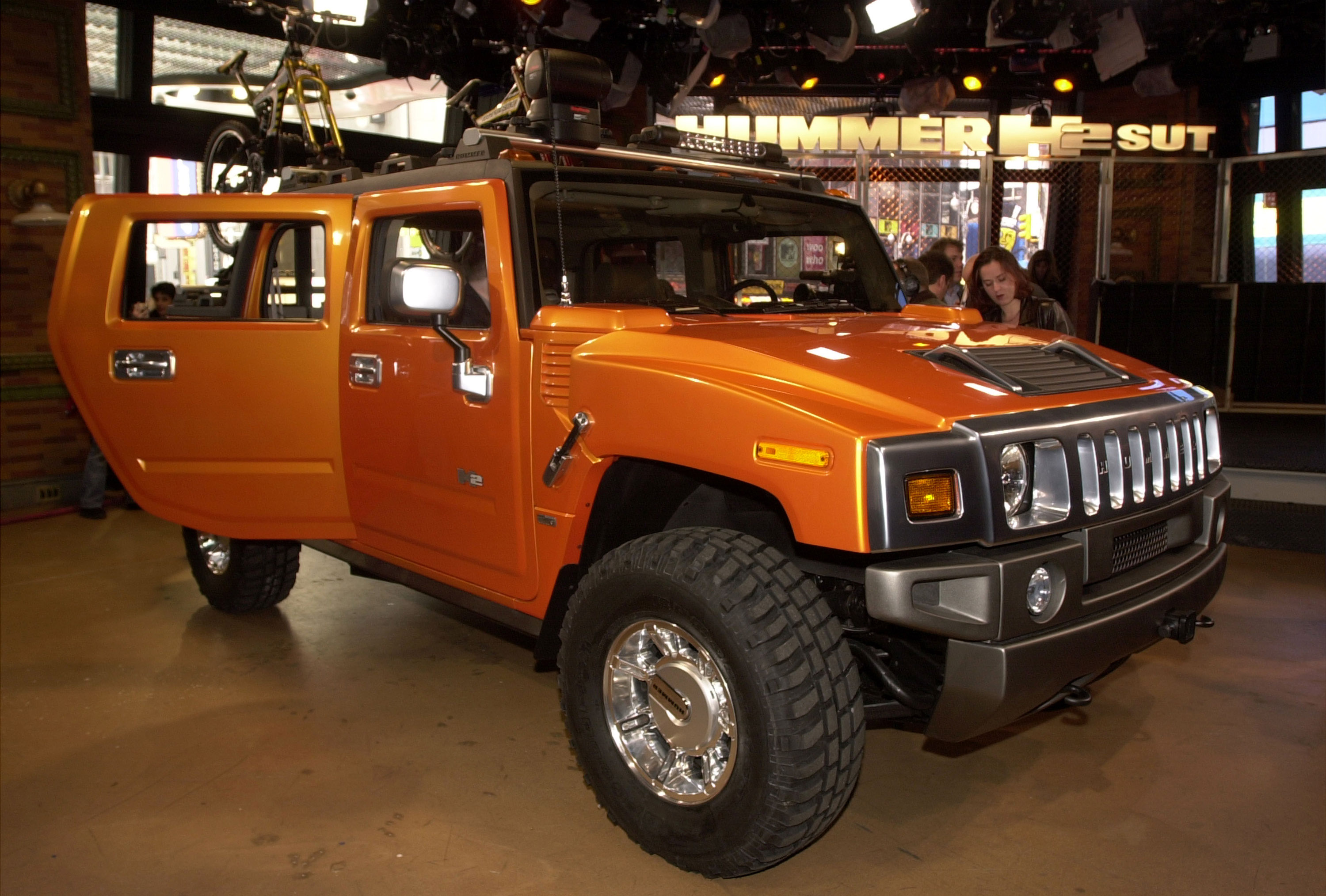 The new General Motors concept Hummer H2 sport utility truck is on display April 10, 2001 in New York City. (Photo by Spencer Platt/Newsmakers)