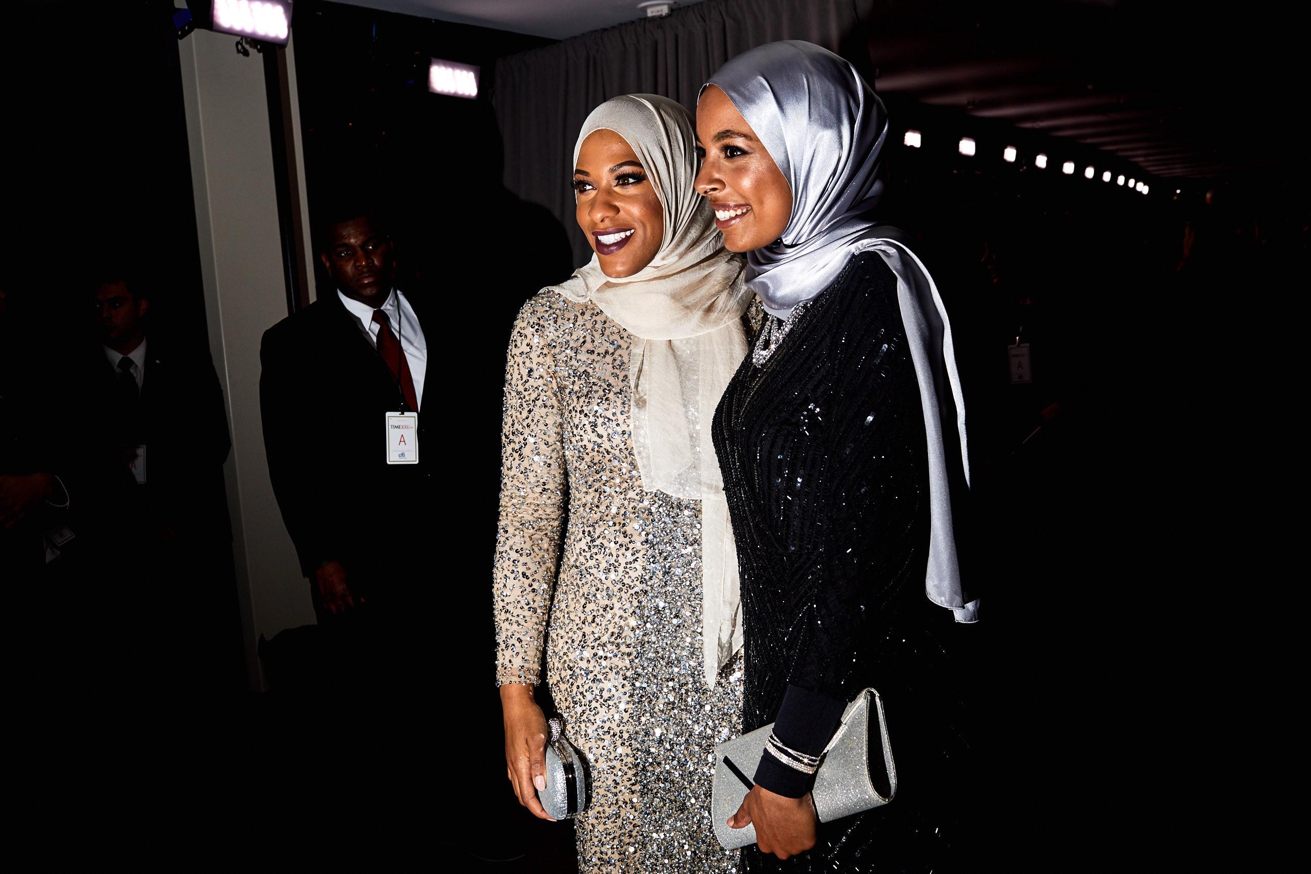 Ibtihaj Muhammad and Aya Elsekhaly at the Time 100 Gala at Jazz at Lincoln Center on April 25, 2017 in New York City.