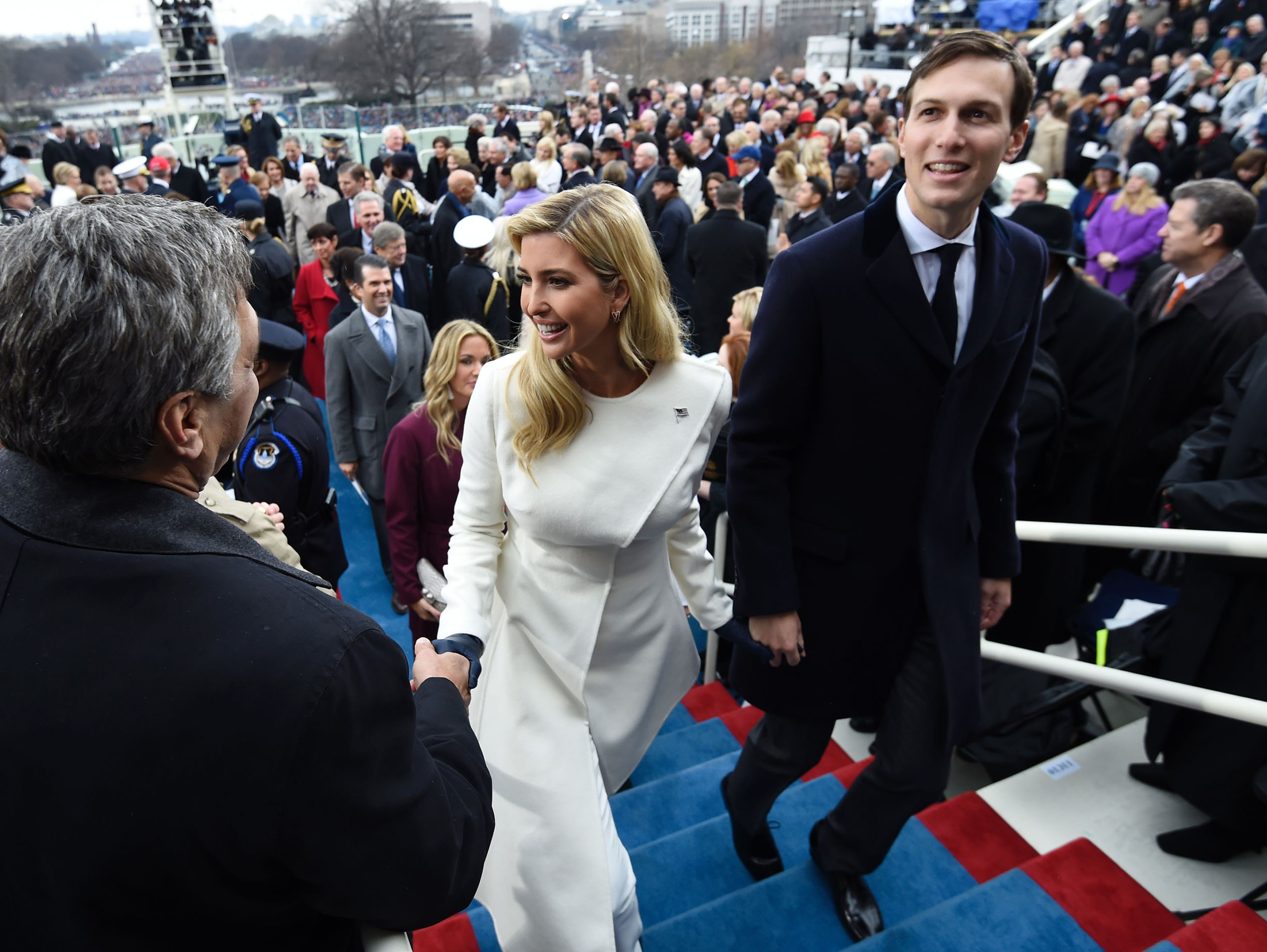 Ivanka Trump and husband Jared Kushner leave after the Presidential Inauguration at the US Capitol in Washington, D.C., Jan. 20, 2017.