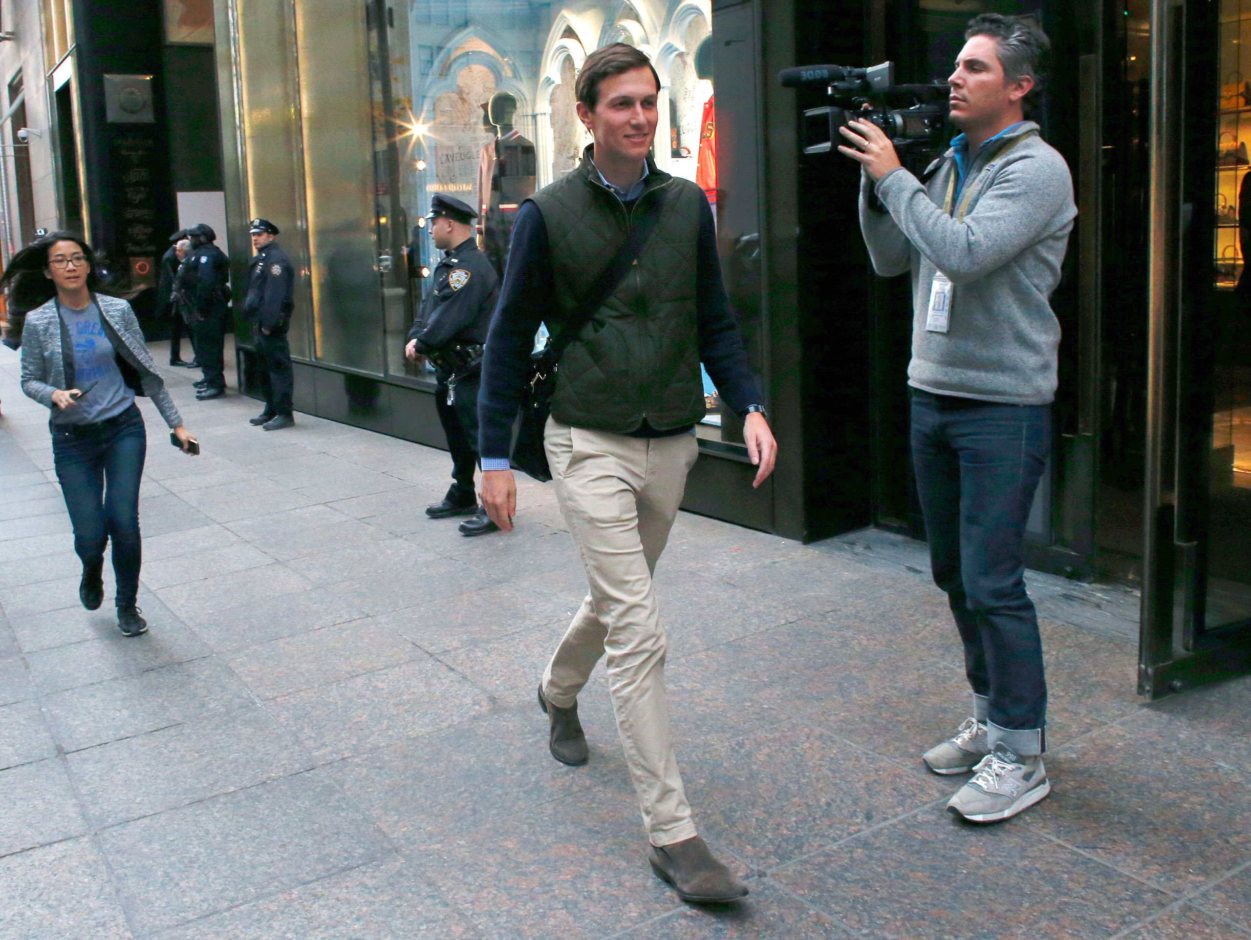 Jared Kushner, son-in-law of US President-elect Donald Trump, leaves from the Trump Tower in New York on Nov. 14, 2016.