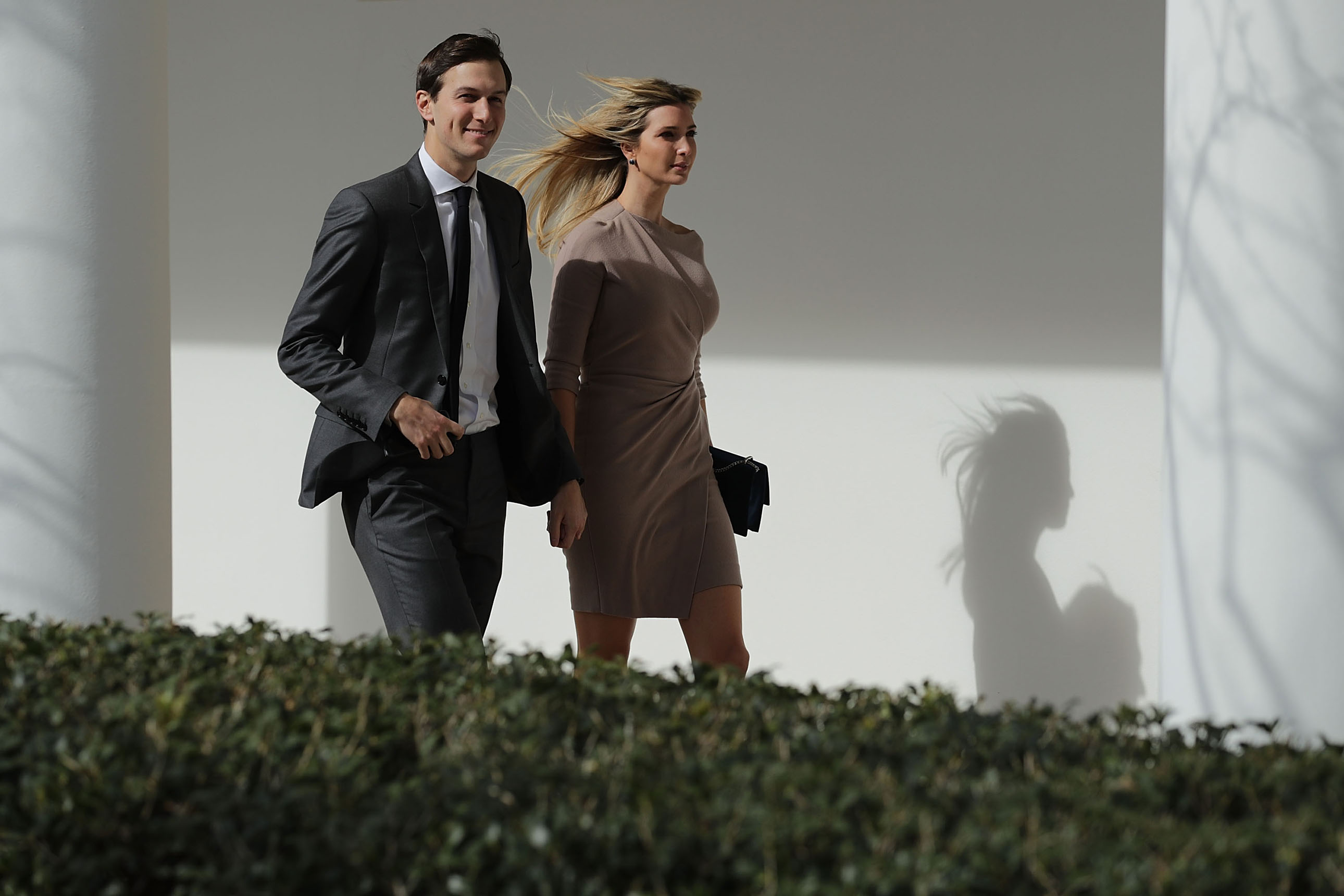 Ivanka Trump and Jared Kushner walk down the West Wing Colonnade following a bilateral meeting between Trump and Japanese Prime Minister Shinzo Abe Feb. 10, 2017 in Washington, D.C.