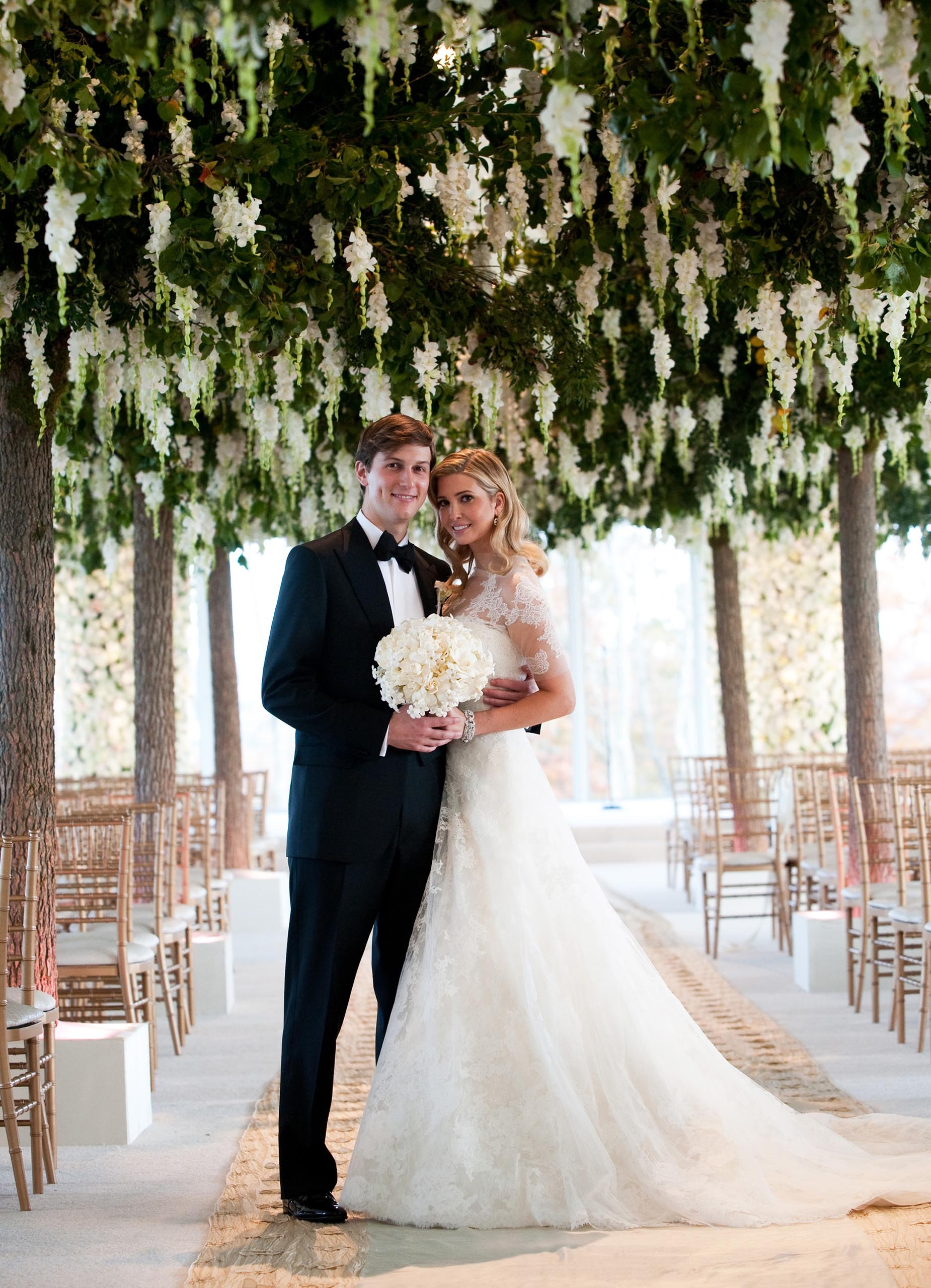 Ivanka Trump and Jared Kushner at their wedding at Trump National Golf Club, Bedminster, New Jersey. Oct. 25, 2009.