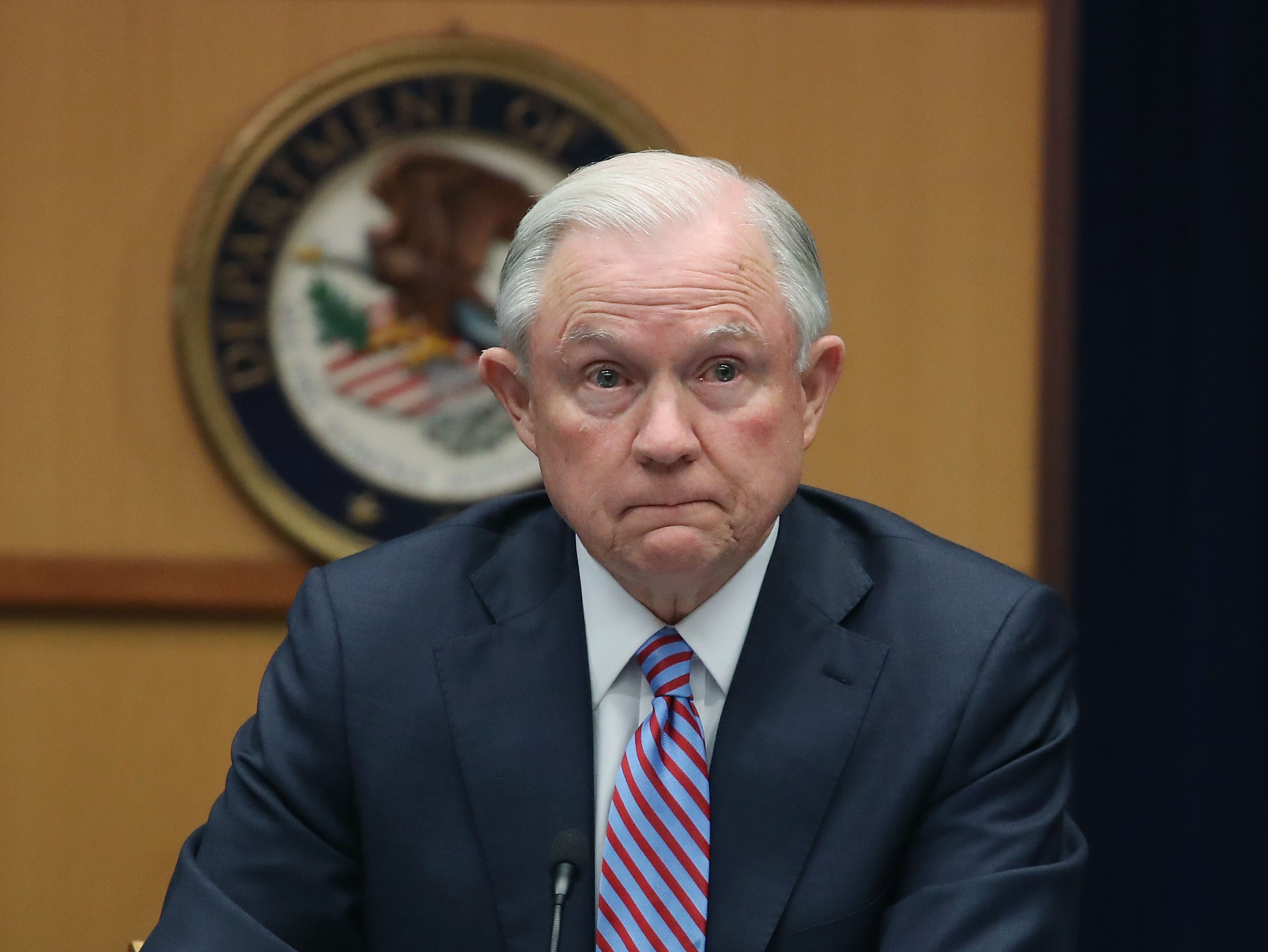 Attorney General Jeff Sessions speaks about organized gang violence at the Department of Justice, April 18, 2016 in Washington, D.C.