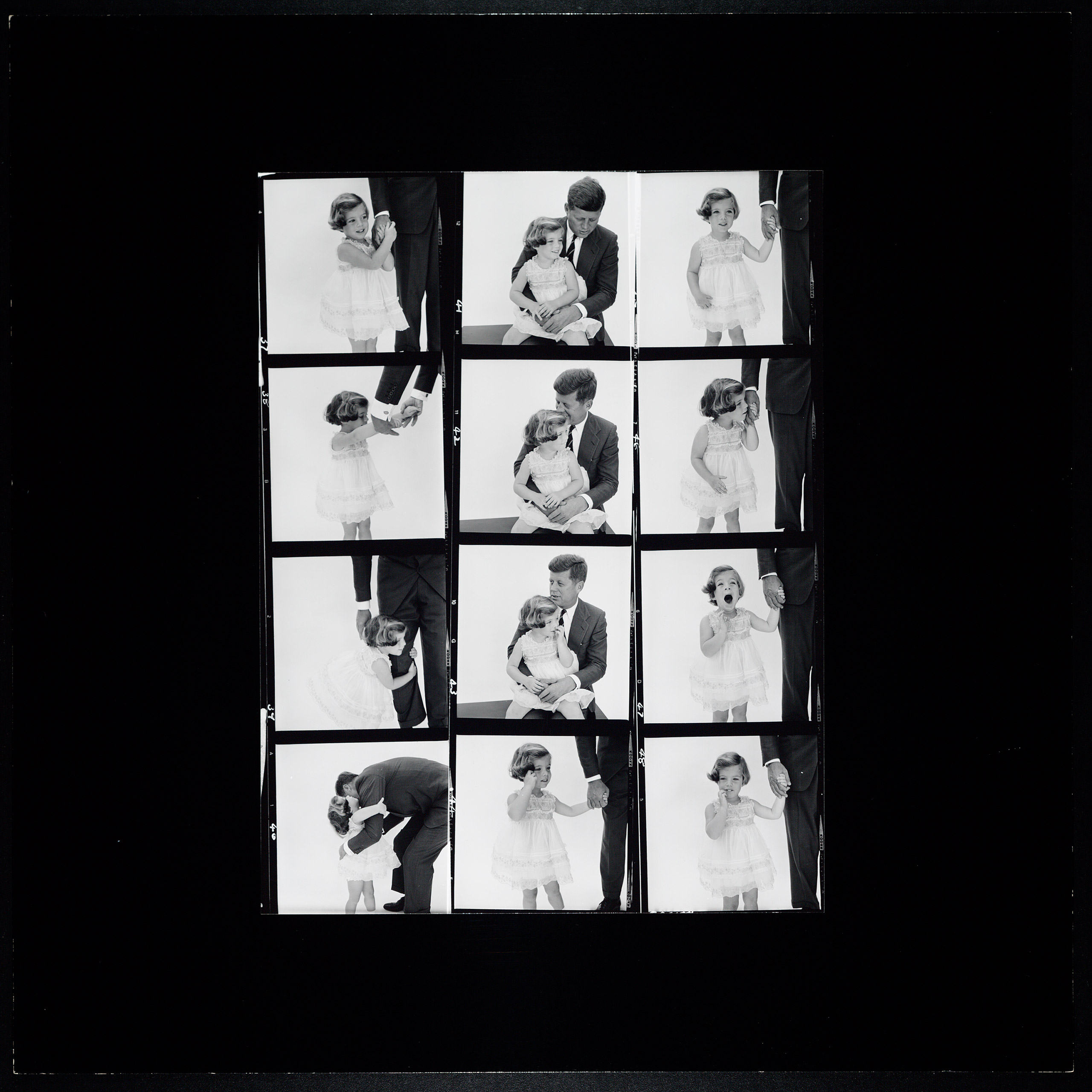 Kennedy family contact sheet by Richard Avedon, 1961.