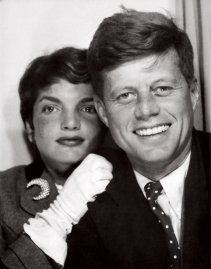 John F. Kennedy and Jackie Kennedy photo booth portrait.