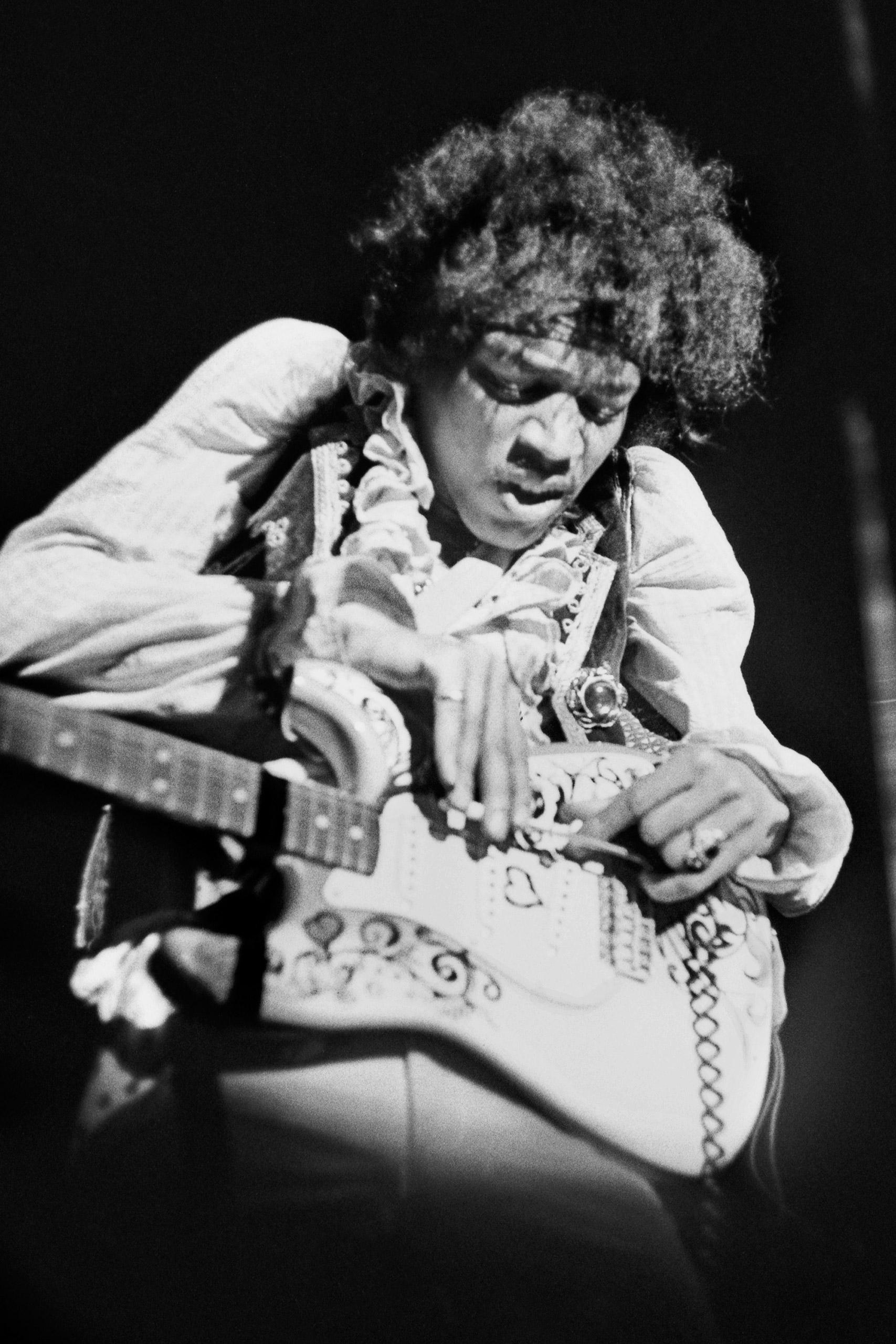 Jimi Hendrix on stage at the Monterey International Pop Music Festival on June 18, 1967.