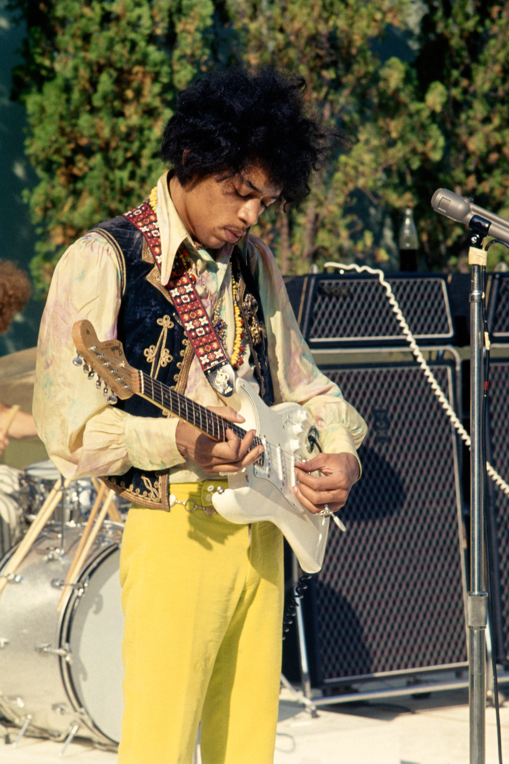 Jimi Hendrix on stage during a rehearsal ahead of the performance by The Jimi Hendrix Experience at the Hollywood Bowl on Aug. 18, 1967.