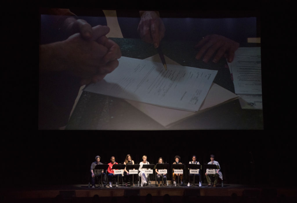 Director Jason Reitman, actresses Issa Rae, Jennifer Garner, Kristen Wiig, Ellen Page, Alia Shawkat, Tracee Ellis Ross and Tig Notaro speak during a live read of 'Juno' benefiting Planned Parenthood at The Theatre at Ace Hotel on April 8, 2017 in Los Angeles, California.