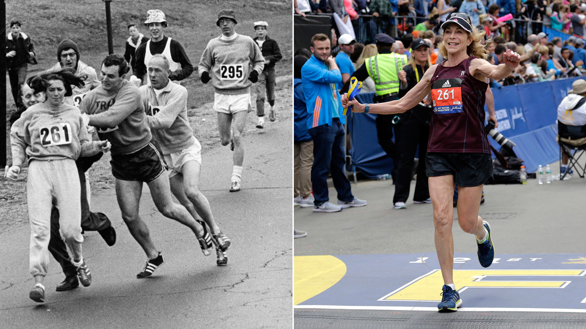 Left: Kathrine Switzer, of Syracuse, N.Y., runs in the Boston Marathon on April 19, 1967, as a race official tries to rip off her bib number. Right, Switzer completes the 2017 marathon.