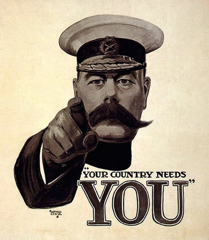 Lord Kitchener Wants You was a British world war I recruitment poster
