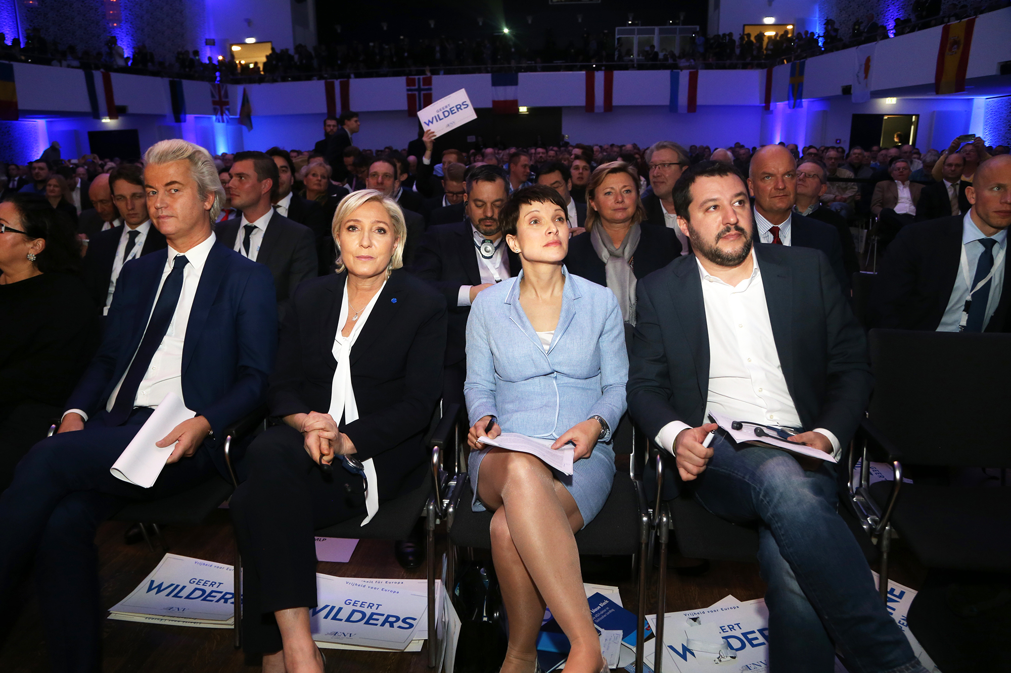 From left: Geert Wilders, Marine Le Pen, Frauke Petry, and Matteo Salvini in Koblenz, Germany, on Jan. 21, 2017.