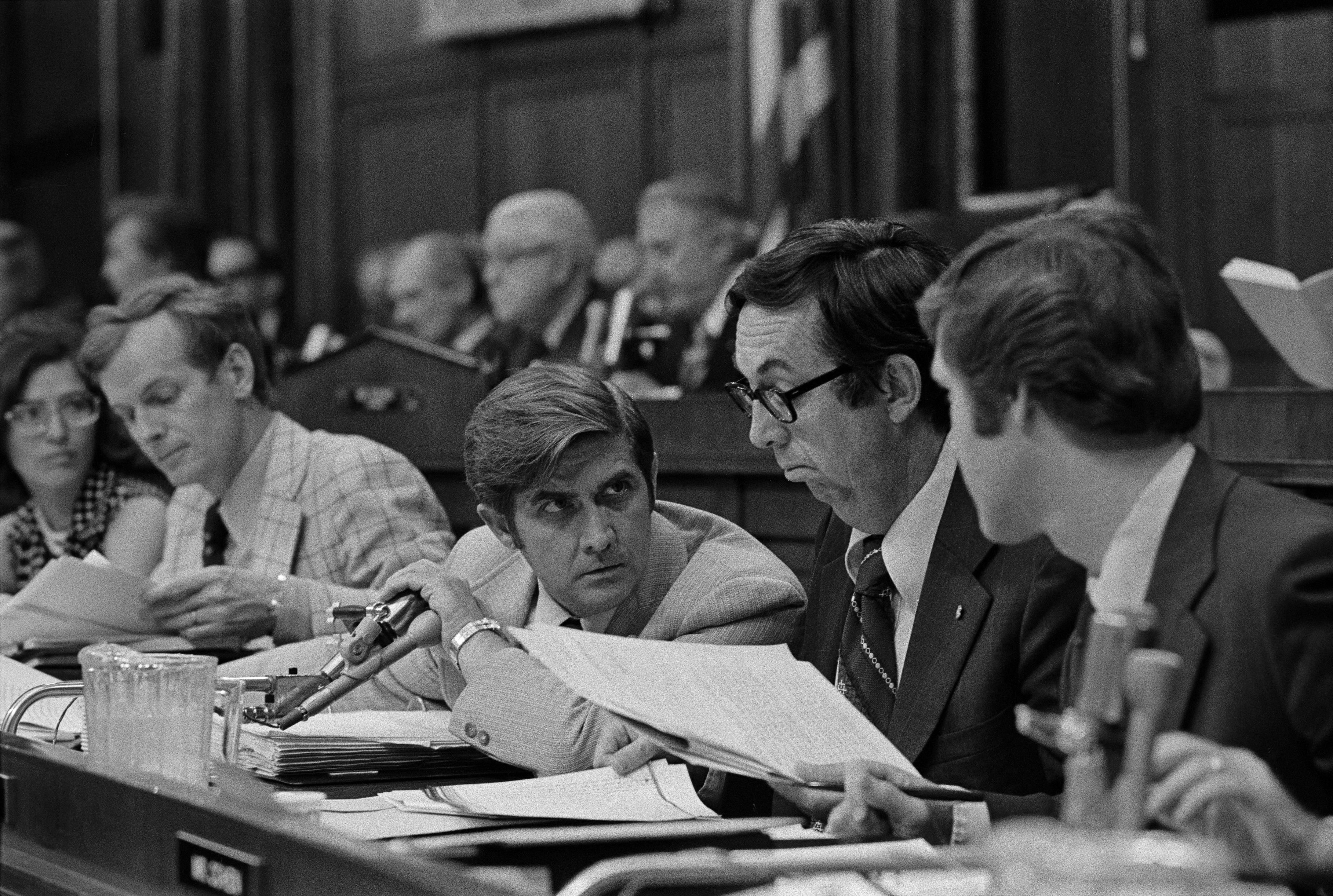 Lawrence J. Hogan of Maryland, left, M. Caldwell Butler of Virginia, center, and William S. Cohen of Maine: three Republicans who voted for impeachment on July 29, 1974.