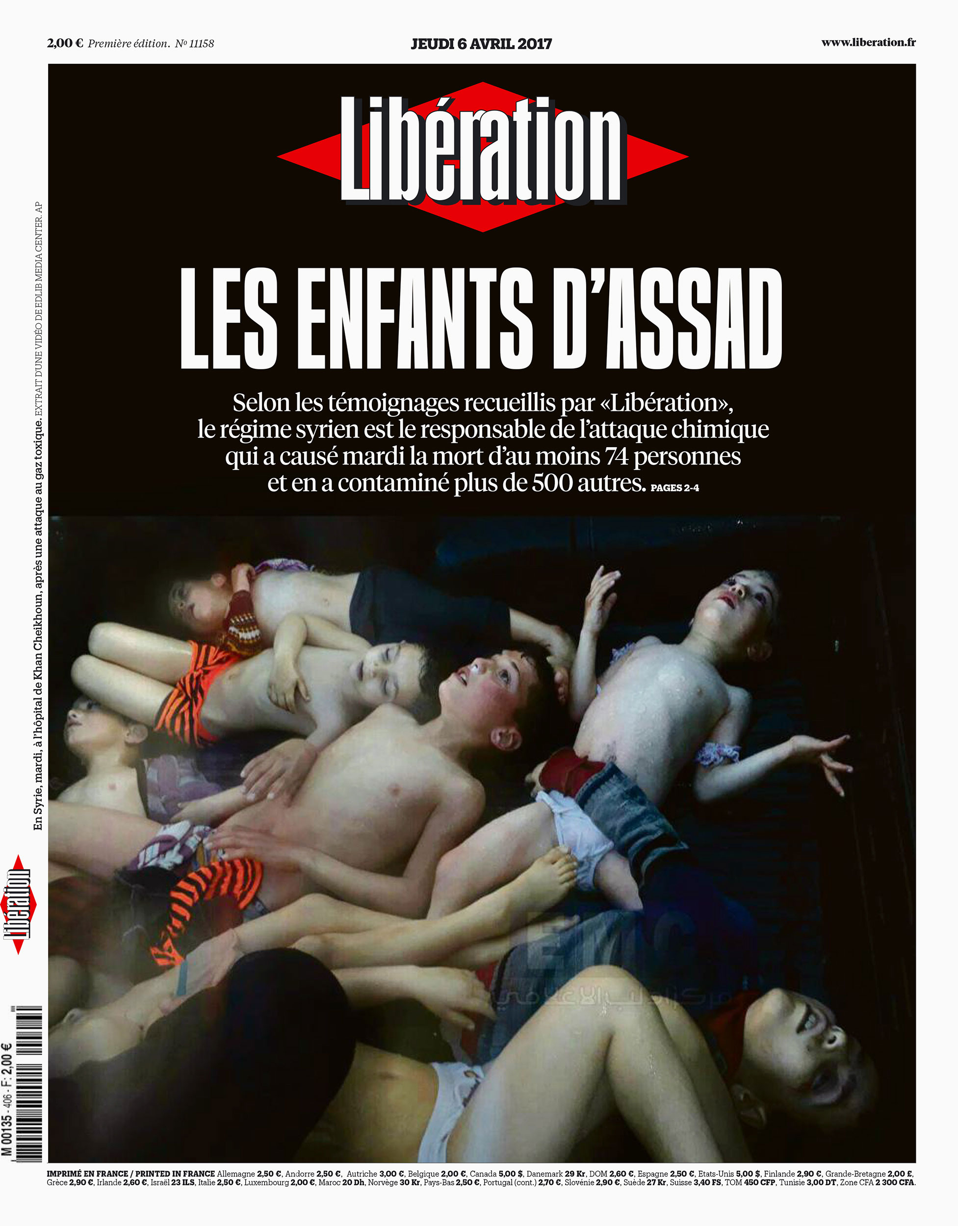 The March 6 front page of Libération, a French newspaper. Its top headline reads: 'Assad's Children.'