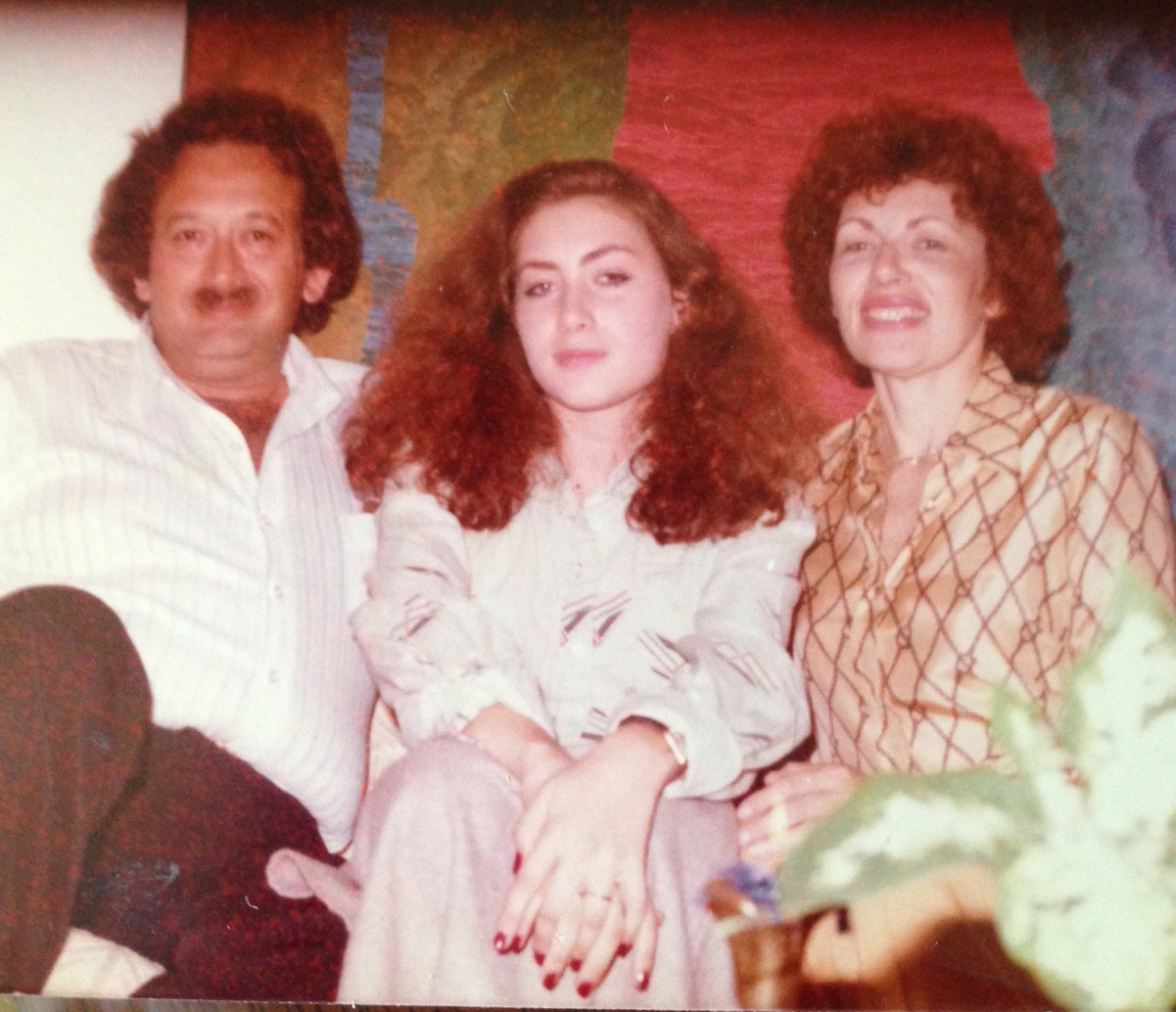 The author, with her mother and father in the 1970s.
