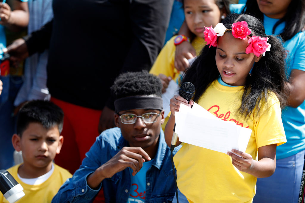 Amariyanna Copeny, also known as Little Miss Flint, speaks during the  Stand Up to Trump  rally outside the White House April 13, 2017 in Washington, DC.