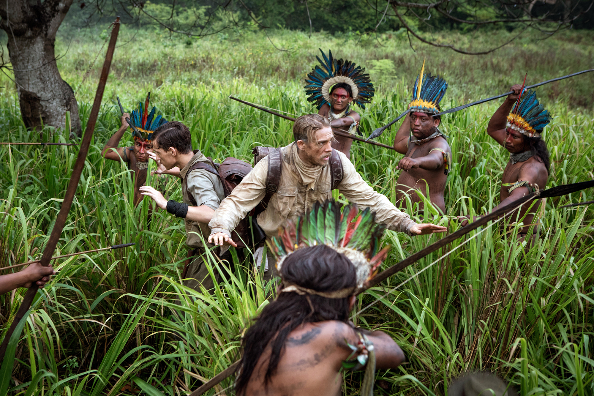 Tom Holland, left, and Charlie Hunnam, right, in The Lost City of Z.