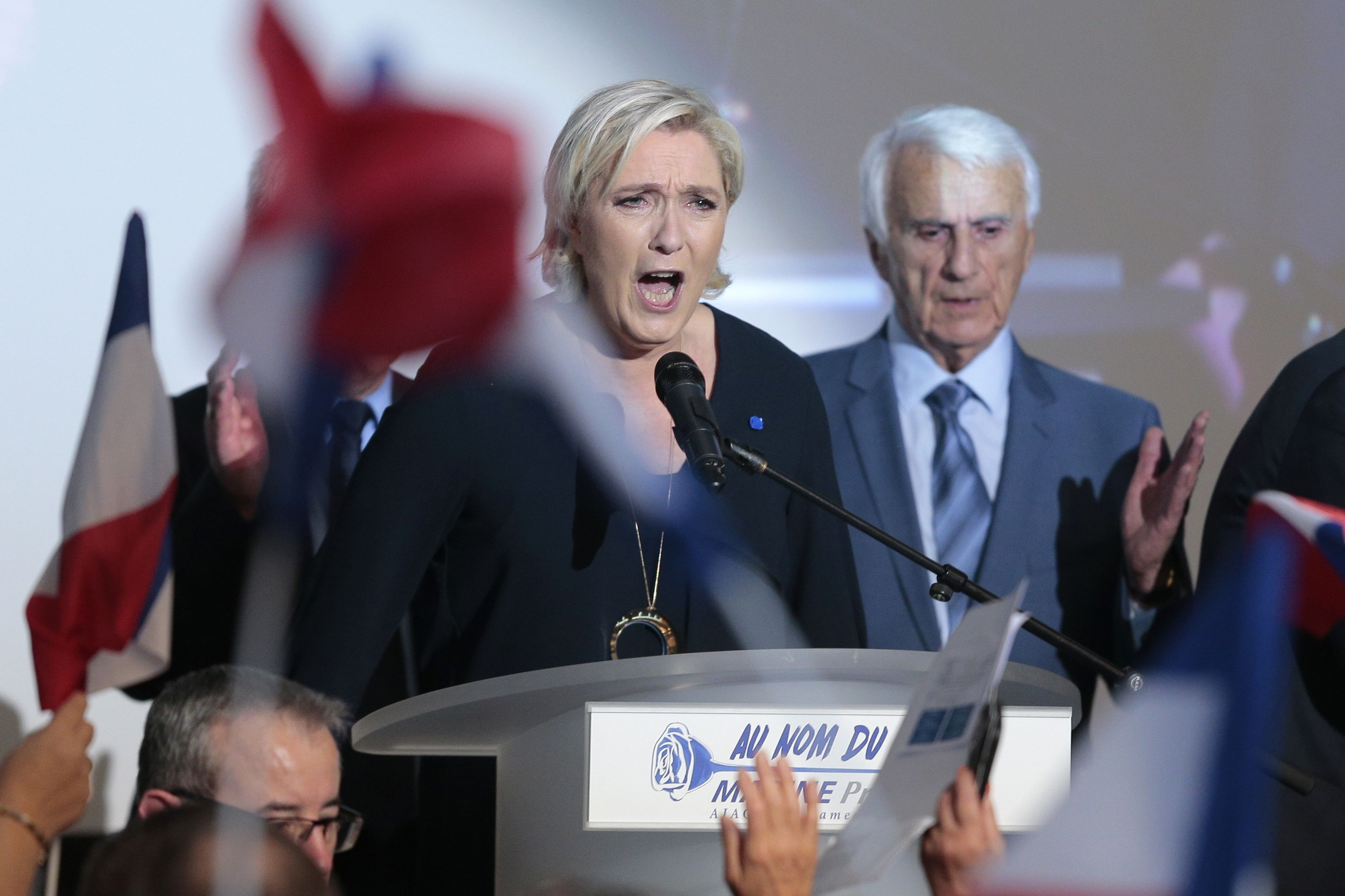 French presidential election candidate for the far-right Front National (FN) party Marine Le Pen delivers a speech during a campaign meeting at the Palais des Congres in Ajaccio on the French Mediterranean island of Corsica, on April 8, 2017.