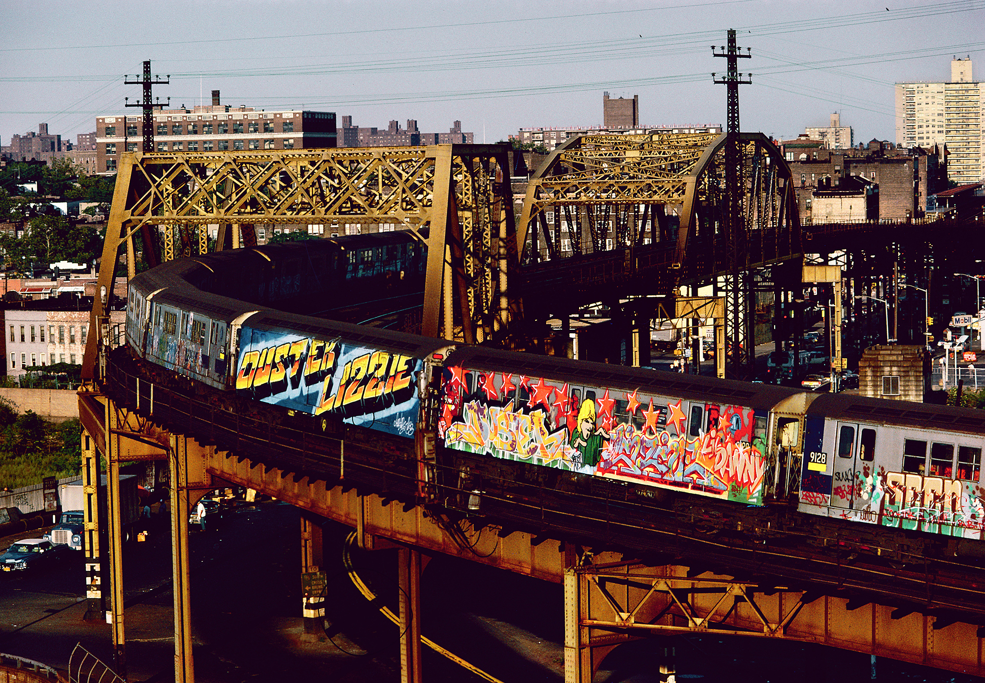 2 Whole Cars in Straight Letters and Wild Style by Duster Lizzie, Bronx, NY, 1982