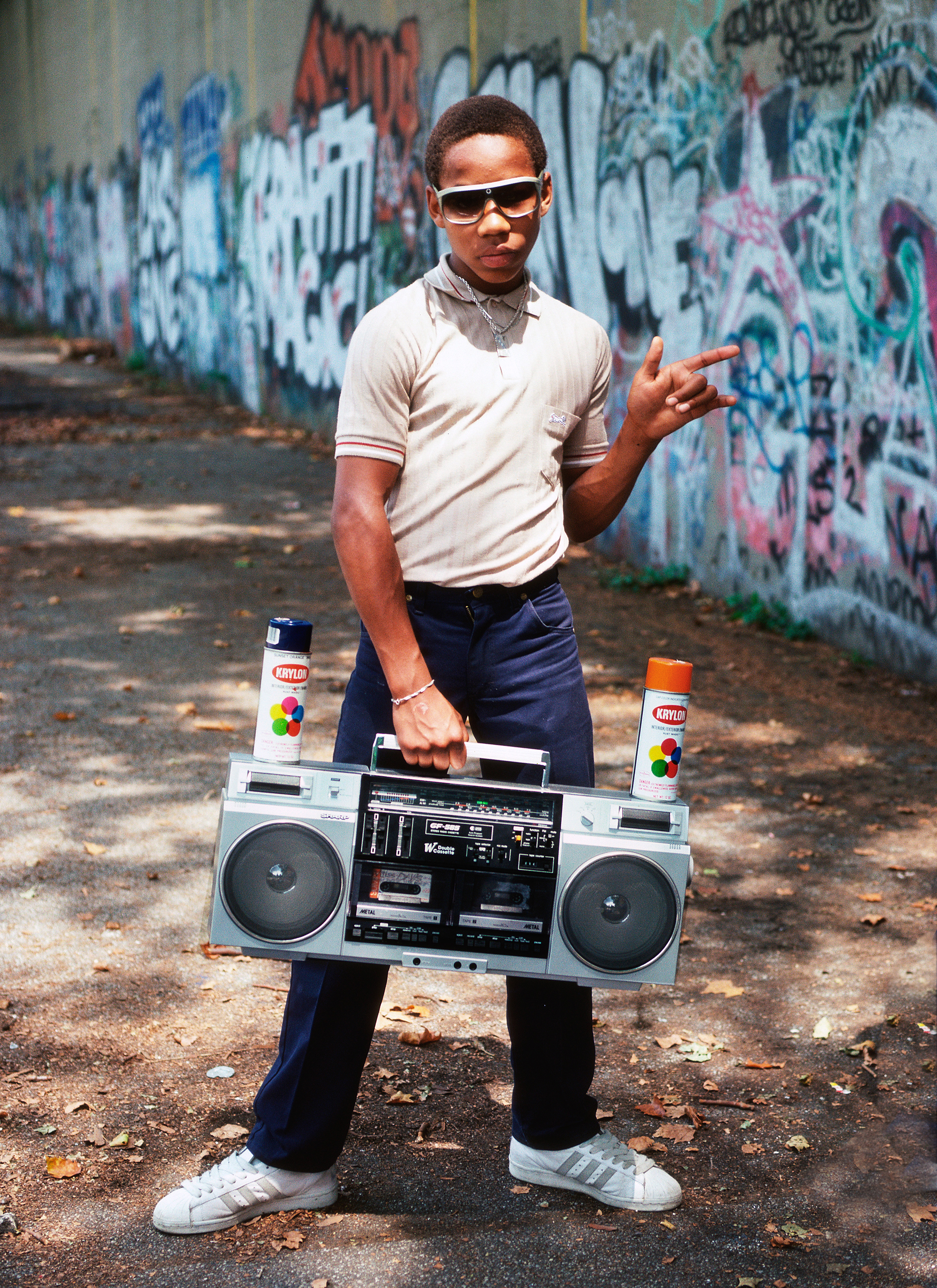 Little Crazy Legs During Shoot for Wild Style, Riverside Park, NY, 1983