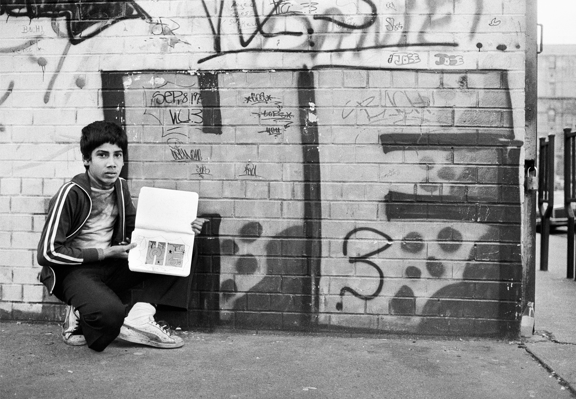 HE3 with His Notebook of Graffiti Drawing, Lower East Side, New York, NY, 1978-1980