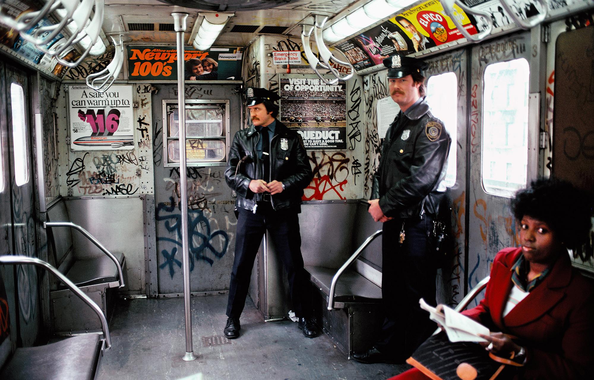Two Cops Patrolling Subway, Bronx, NY, 1981