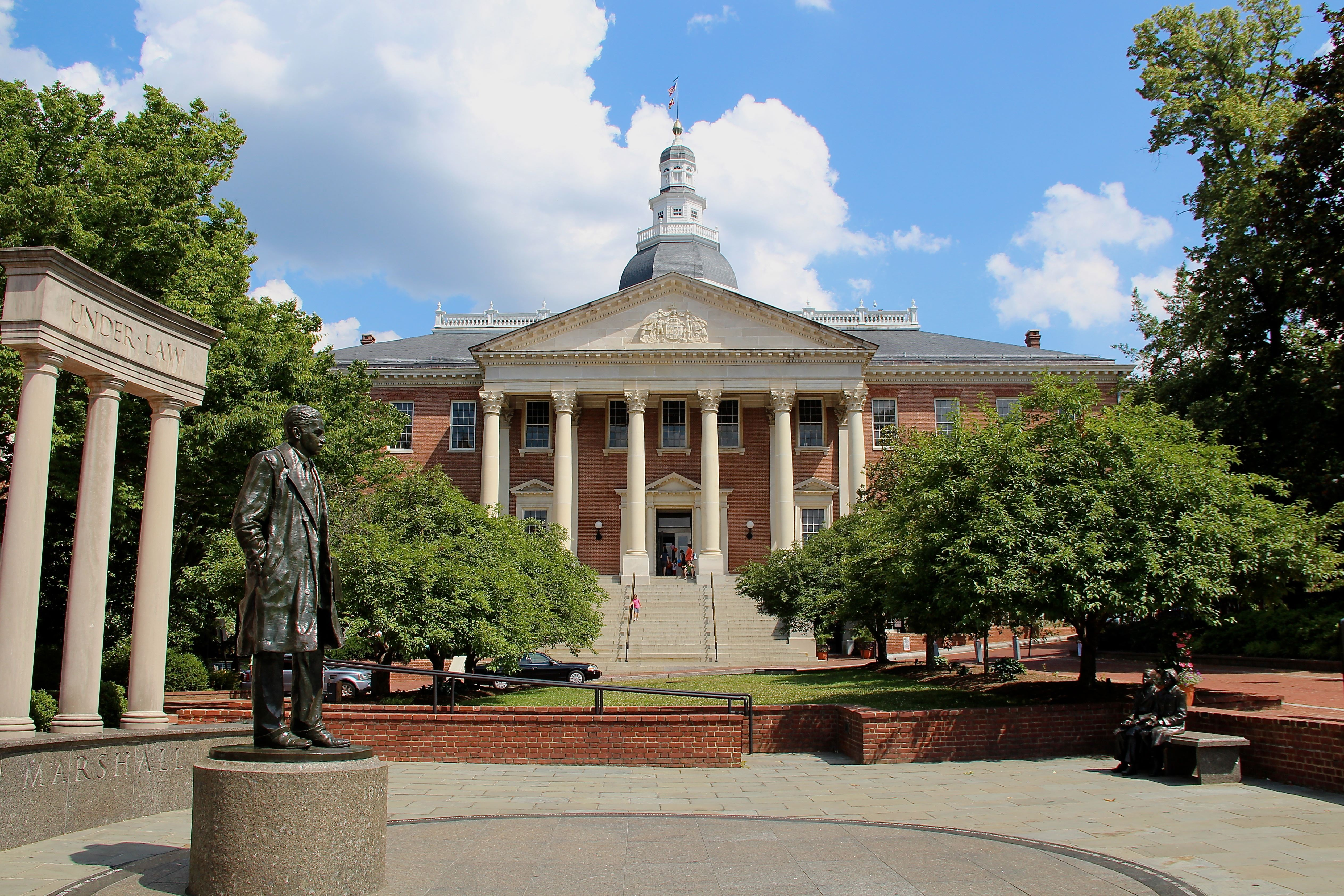 Maryland State House, state capitol building, Annapolis, Maryland, exterior view. (Photo by: Education Images/UIG via Getty Images)