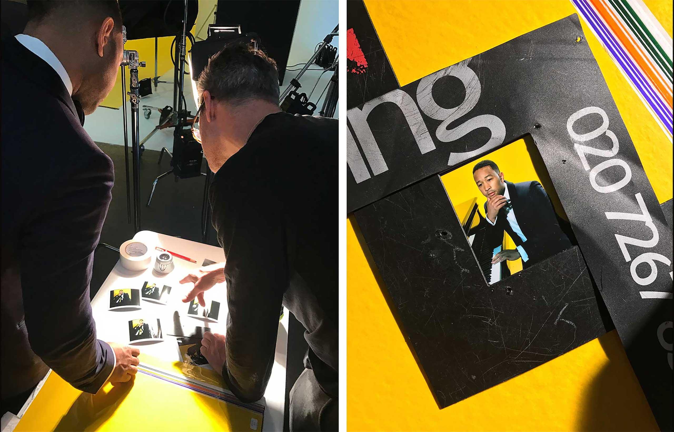 (L) John Legend and Miles Aldridge study the Polaroids on shoot.