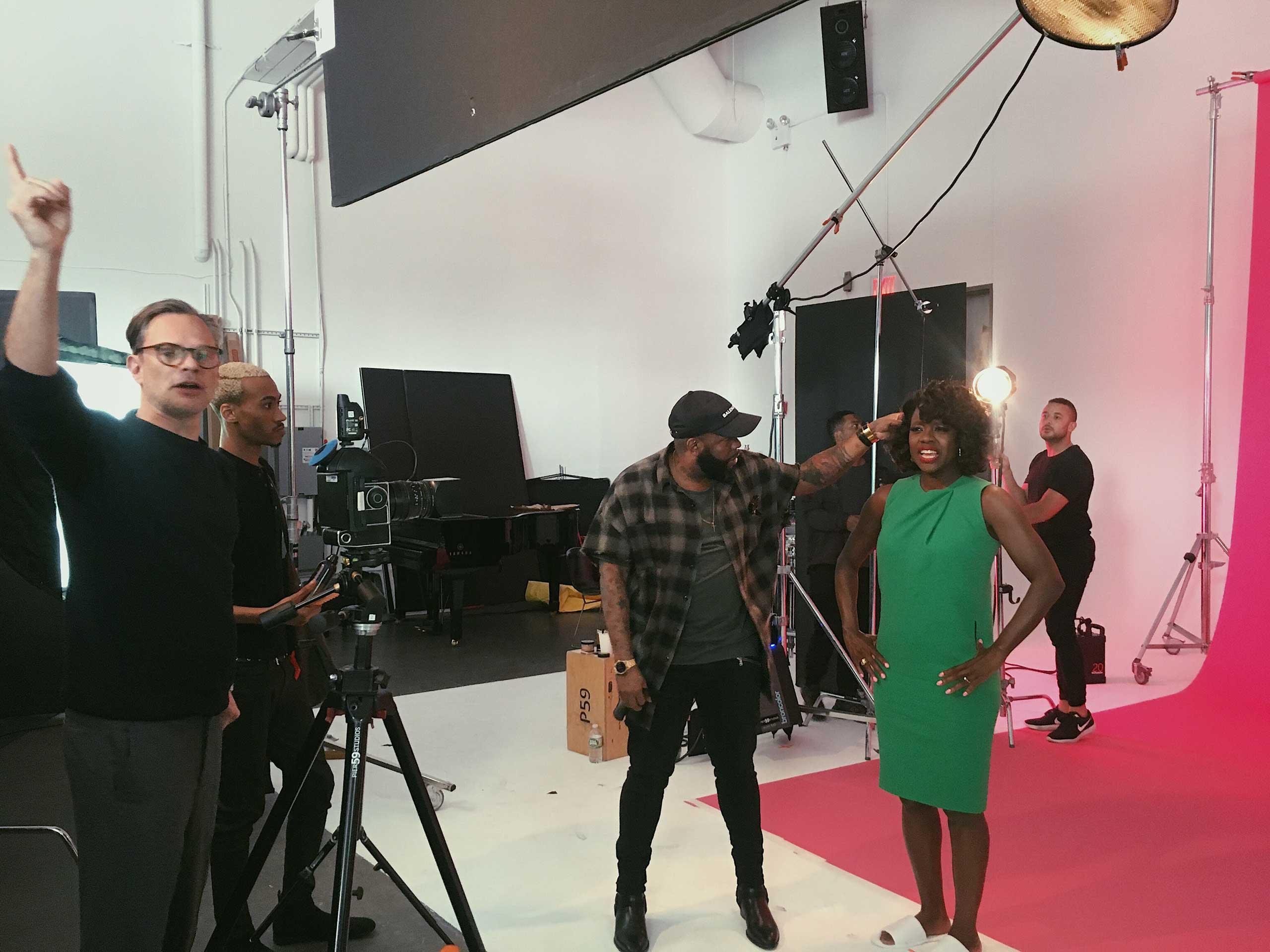 Miles Aldridge, hair stylist Yusef and Viola Davis on set for TIME 100.