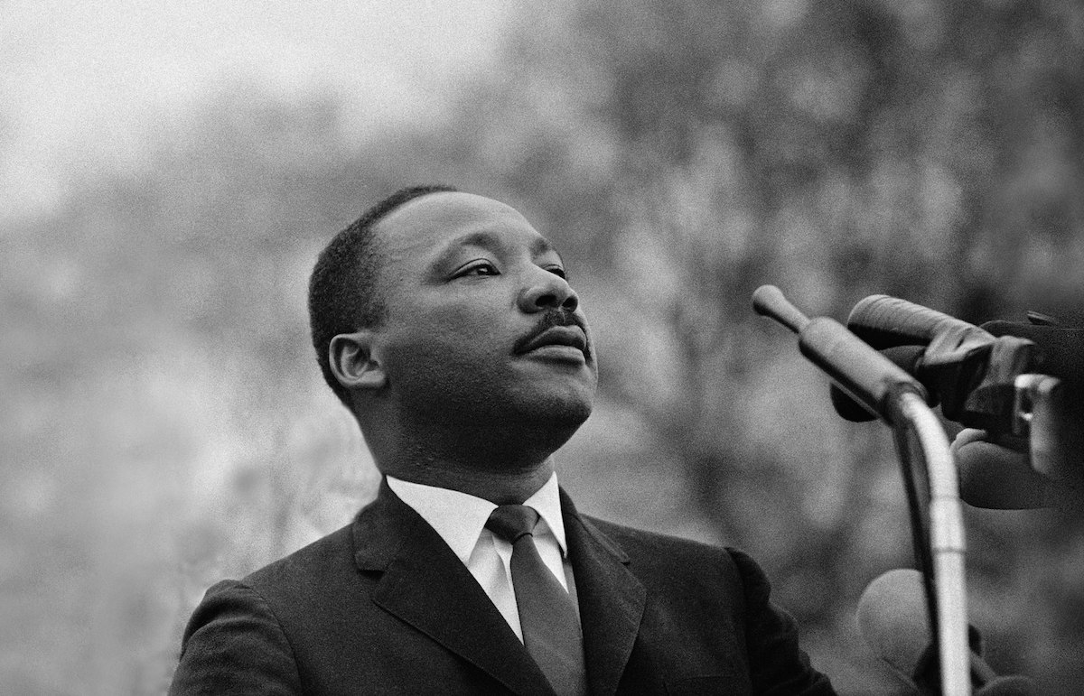 Dr. Martin Luther King, Jr. speaking before crowd of 25,000 Selma-to-Montgomery, Alabama civil rights marchers, on March 25, 1965 in Montgomery, Alabama.