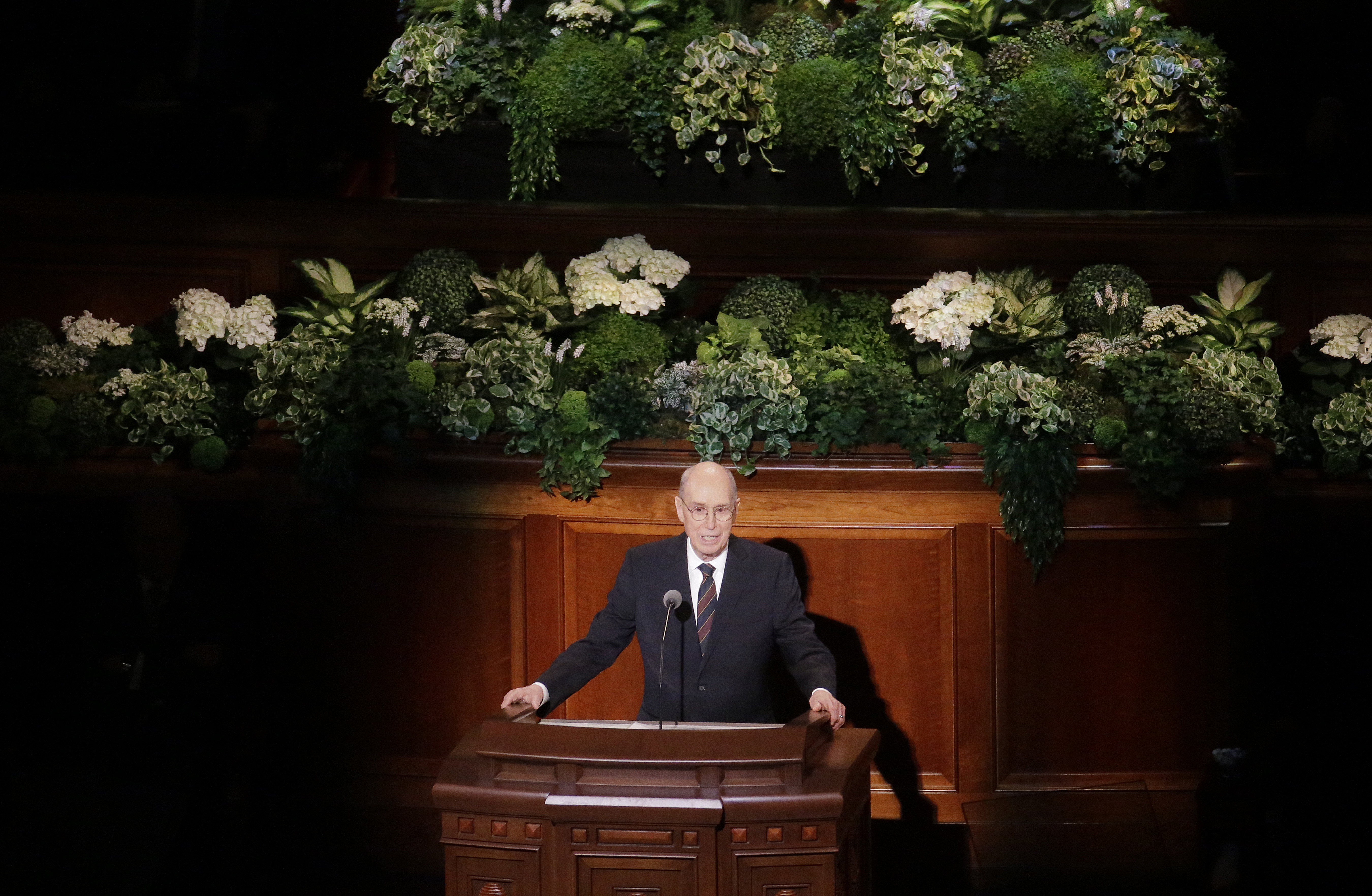 Henry B. Eyring speaks during the morning session of the two-day Mormon church conference on April 1, 2017, in Salt Lake City.