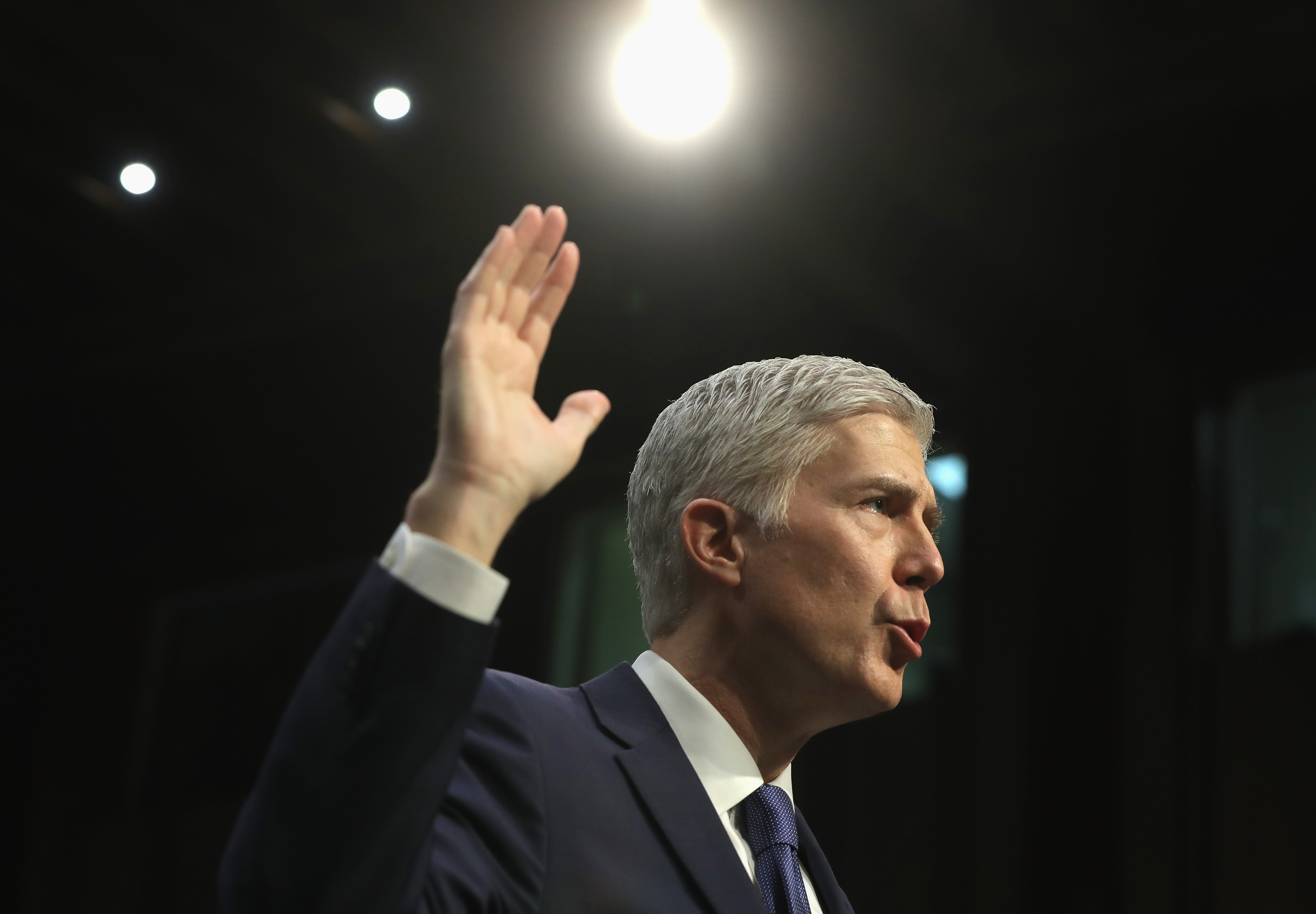 Judge Neil Gorsuch is sworn in on the first day of his Supreme Court confirmation hearing before the Senate Judiciary Committee in the Hart Senate Office Building on Capitol Hill March 20, 2017 in Washington, D.C.