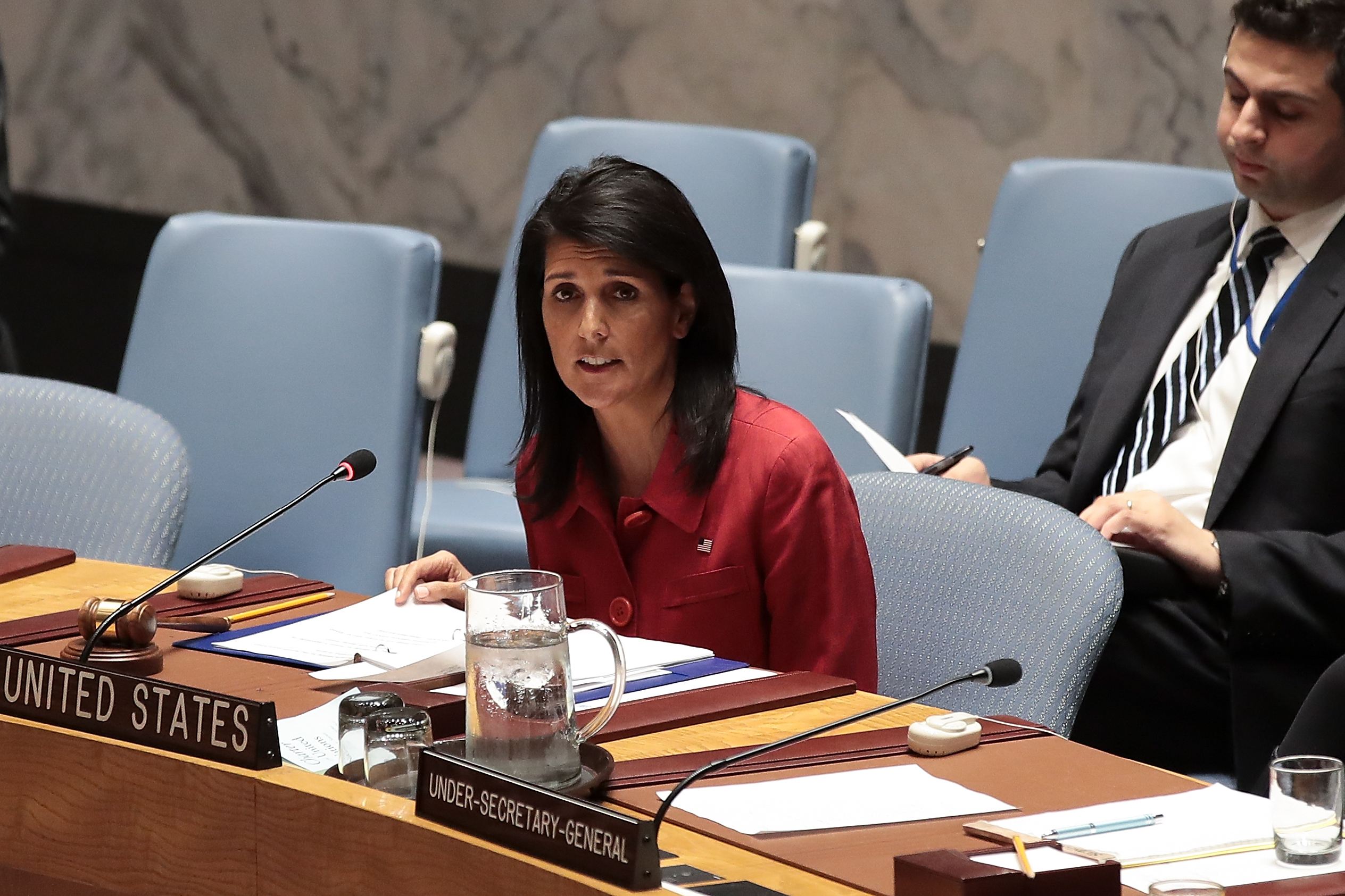 U.S. Ambassador to the United Nations Nikki Haley delivers remarks during a meeting of the United Nations Security Council concerning the situation in Syria, at UN headquarters, April 7, 2017 in New York City.