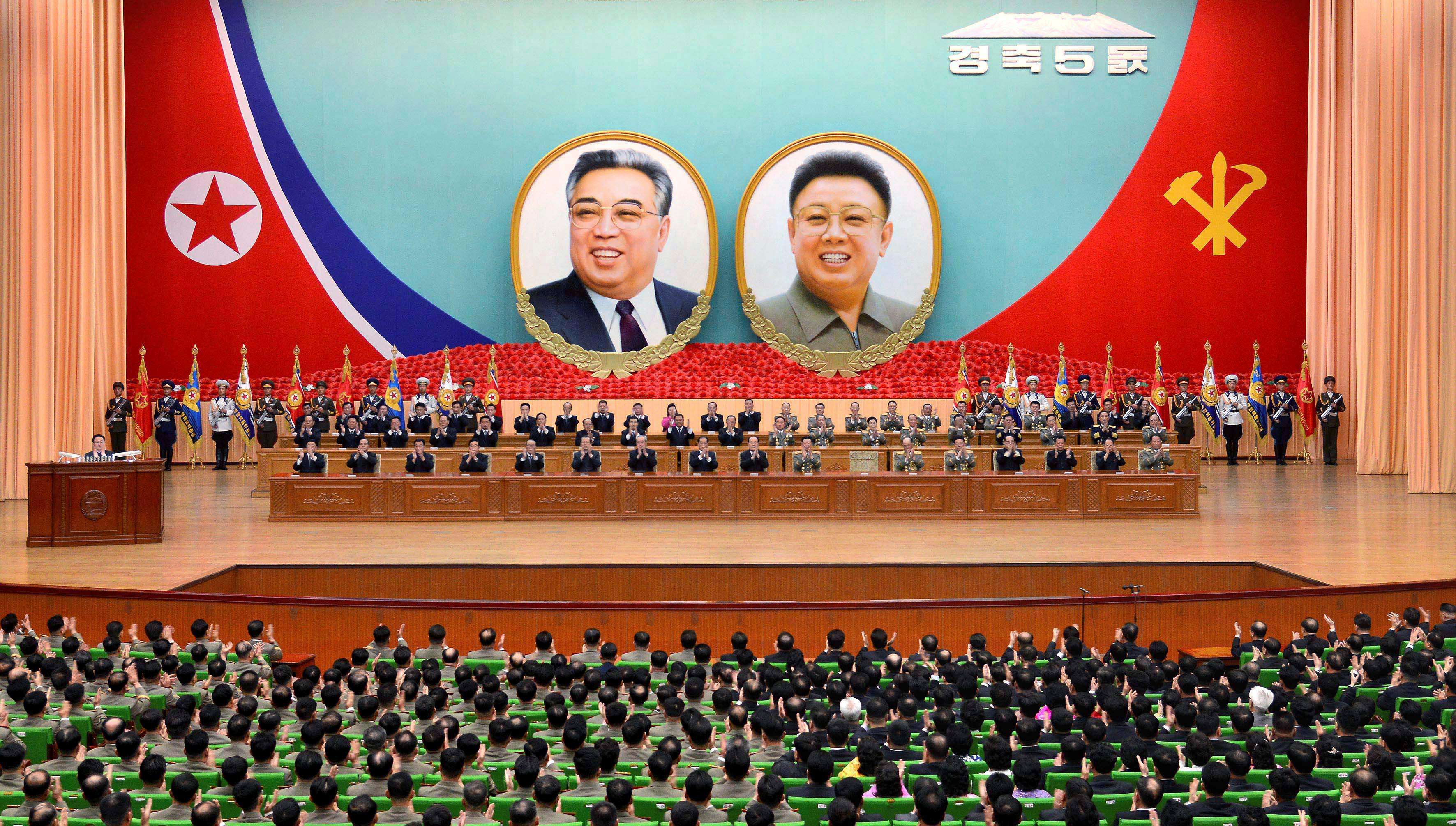 A general view of a national meeting took place to celebrate the 5th anniversary of leader Kim Jong Un's assumption of the top posts of the party and the state, in this undated photo released by North Korea's Korean Central News Agency (KCNA) in Pyongyang April 12, 2017.