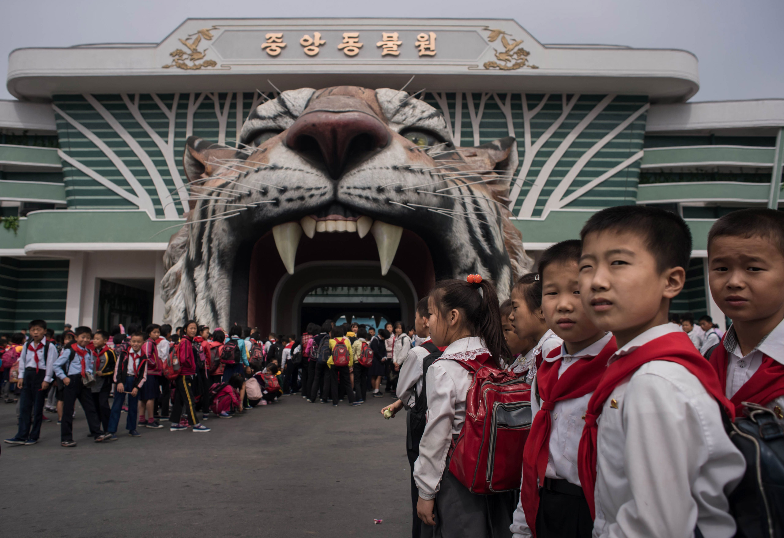 Visitors wait to enter the Museum of Natural History in Pyongyang on Sept. 28, 2016.