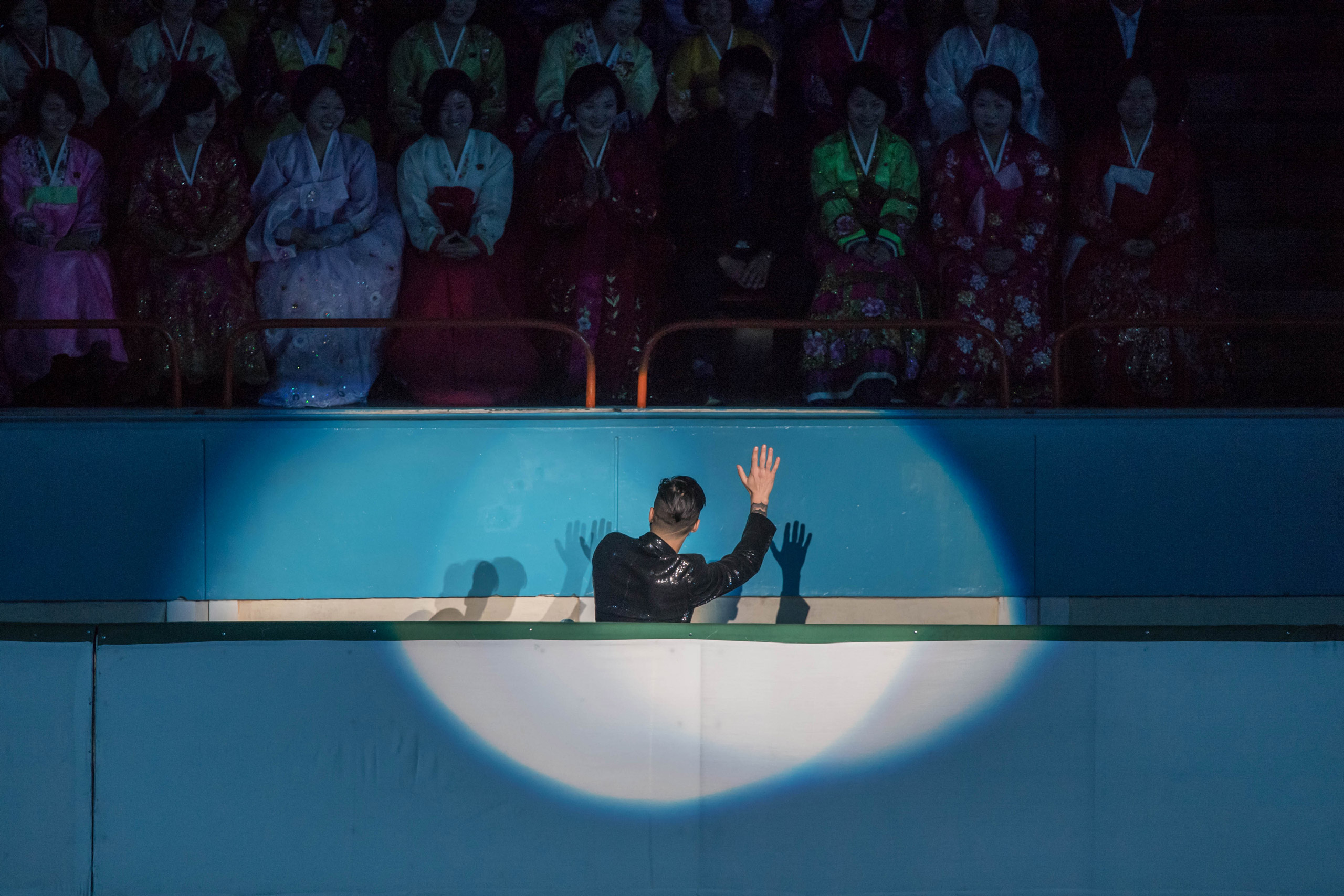 Spectators watch a figure skater perform at the Paektusan Prize International Figure Skating Festival in Pyongyang on Feb. 15, 2017. The Paektusan Prize International Figure Skating Festival is held every year to celebrate Kim Jong-Il, the leader who oversaw the North's first nuclear tests.